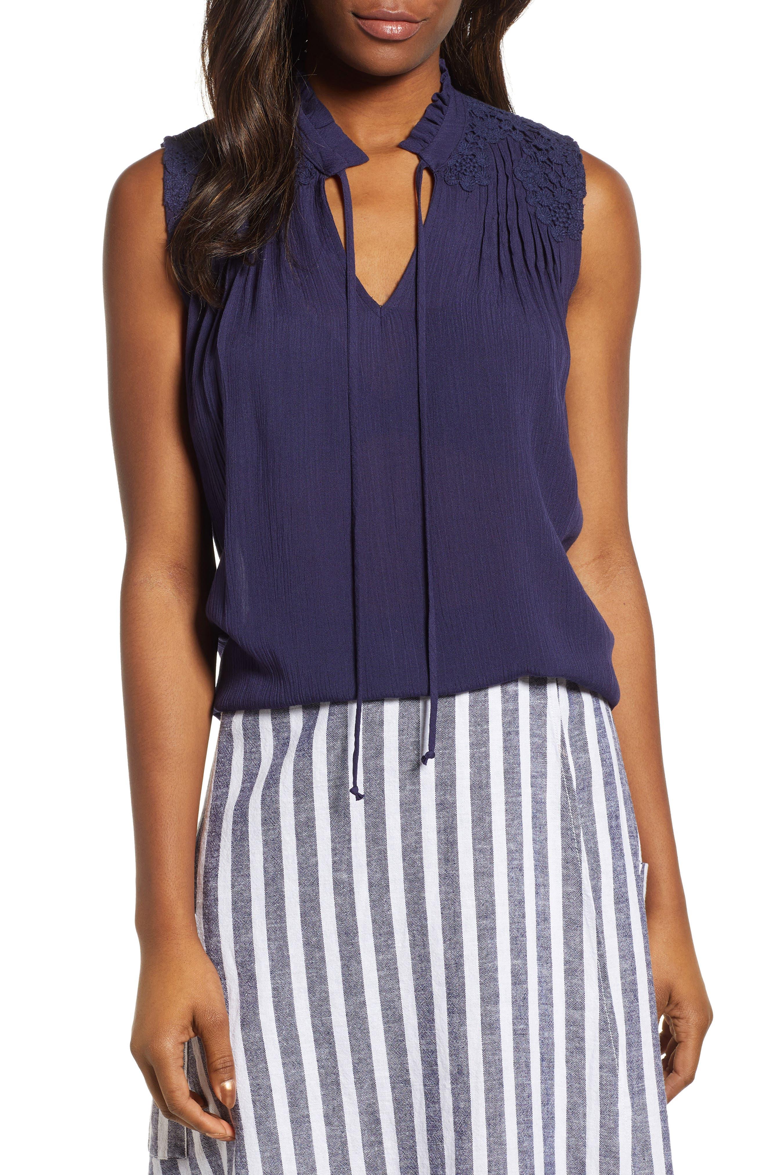 CASLON<SUP>®</SUP> Lace Appliqué Top, Main, color, NAVY