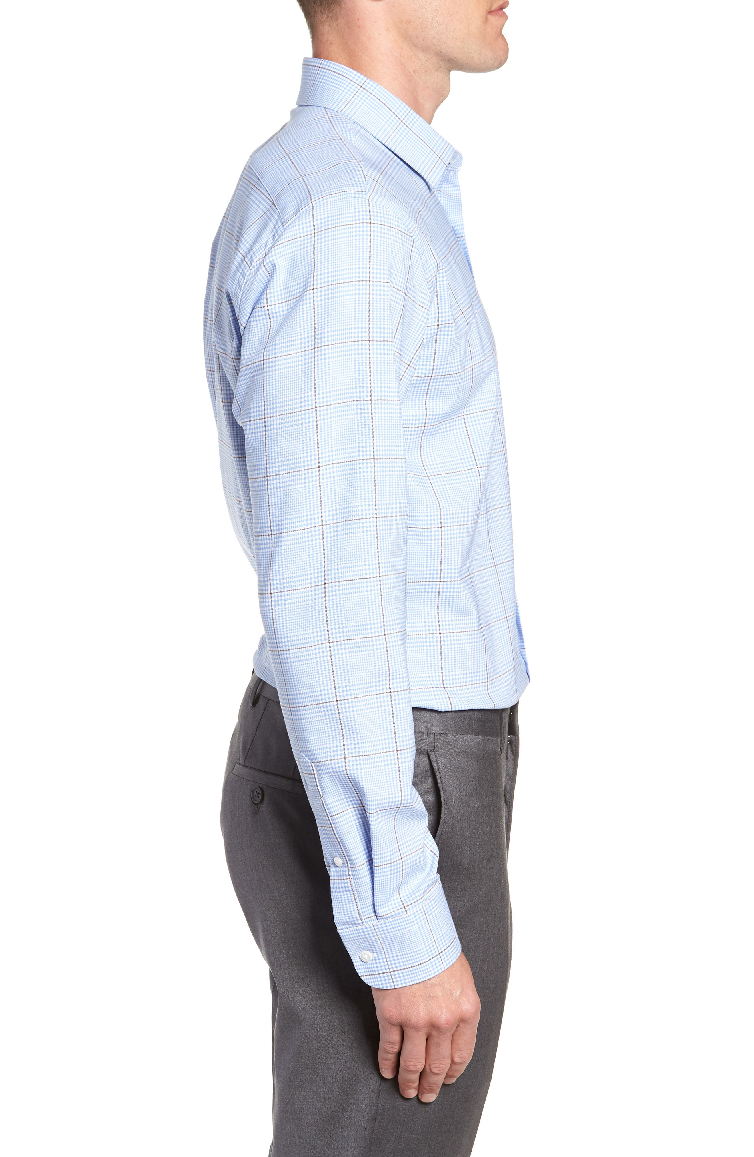 Tech-Smart Trim Fit Stretch Plaid Dress Shirt,                             Alternate thumbnail 4, color,                             BLUE HAZE