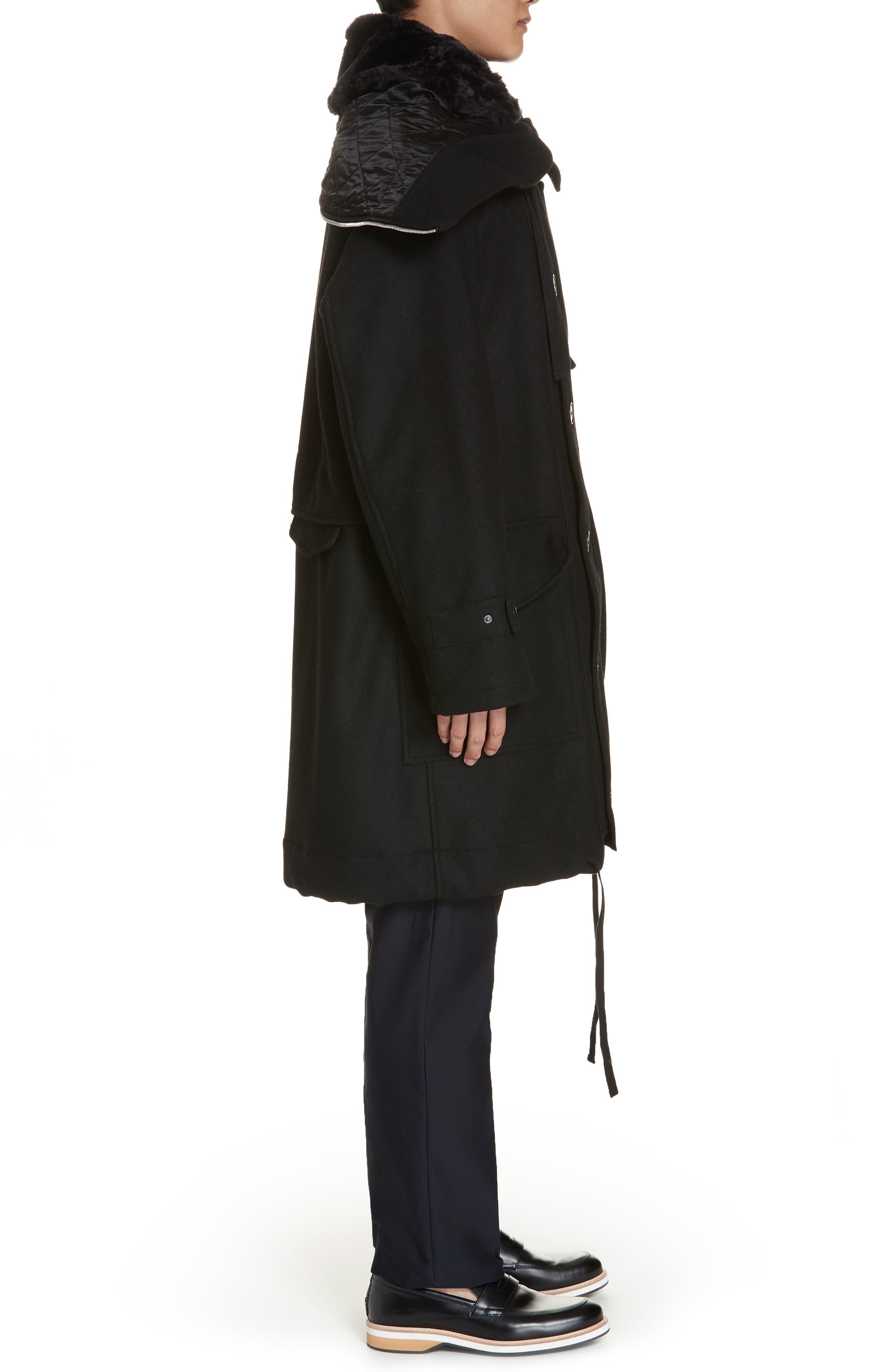 Verreli Hooded Parka with Faux Fur Trim,                             Alternate thumbnail 4, color,                             BLACK 900