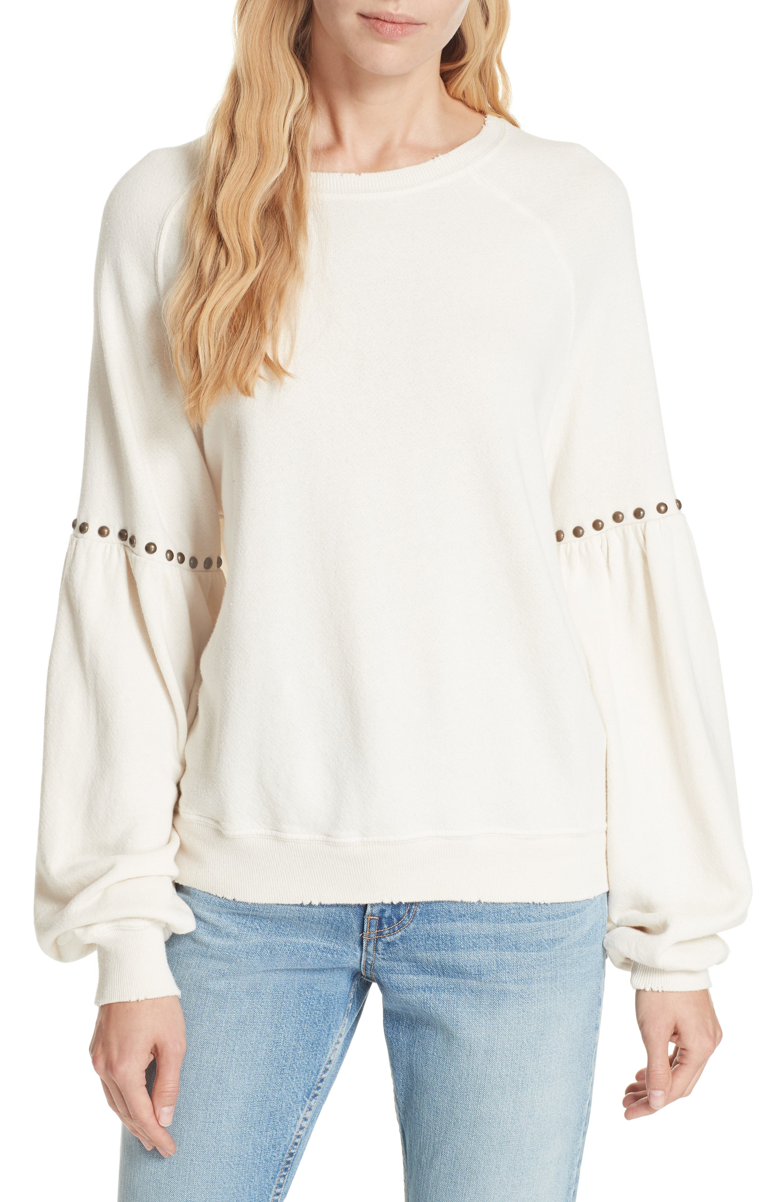 The Bishop Sleeve Studded Sweatshirt,                             Main thumbnail 1, color,                             WASHED WHITE W/ STUDS