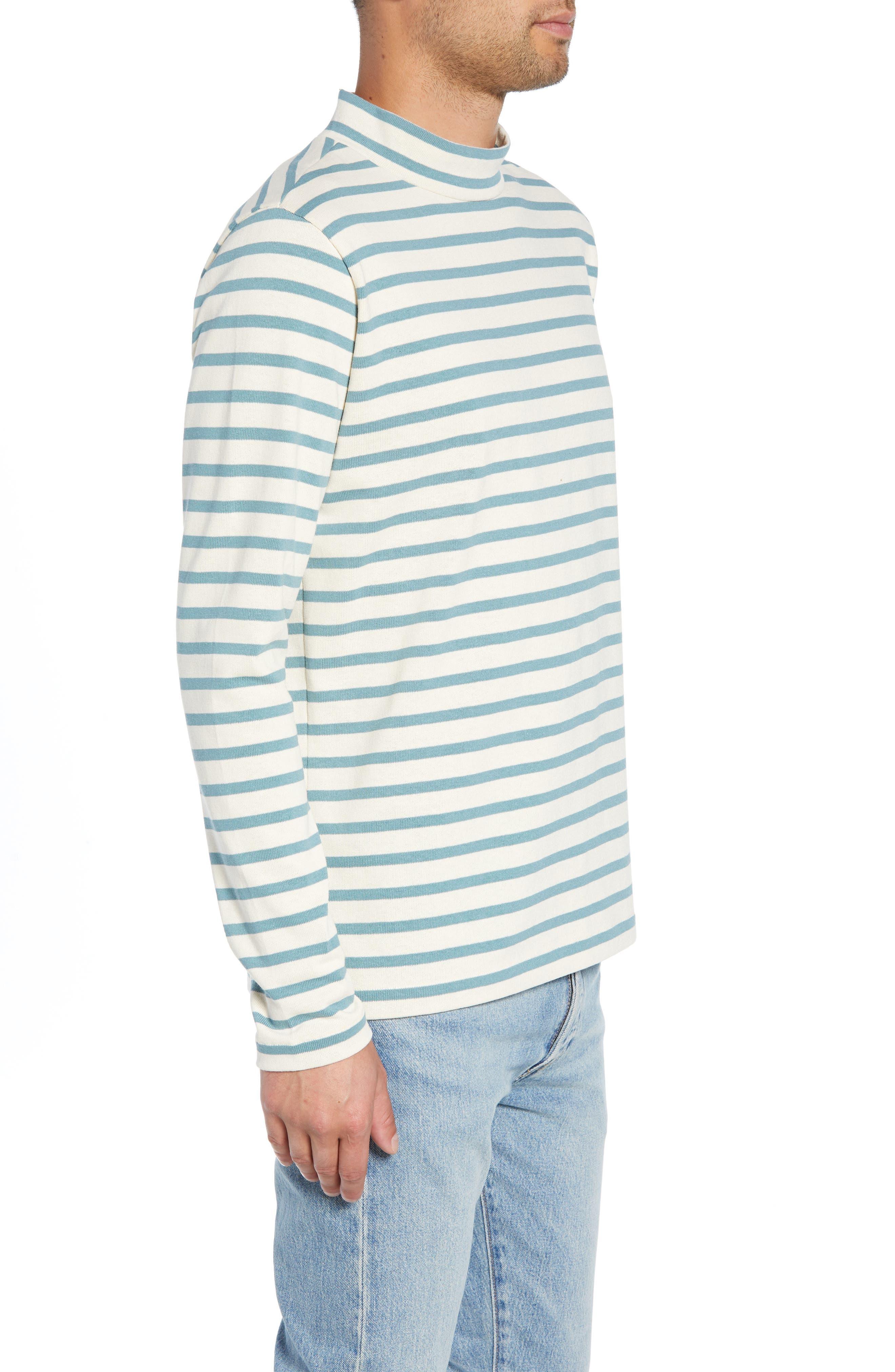 Striped Mock Neck T-Shirt,                             Alternate thumbnail 3, color,                             900