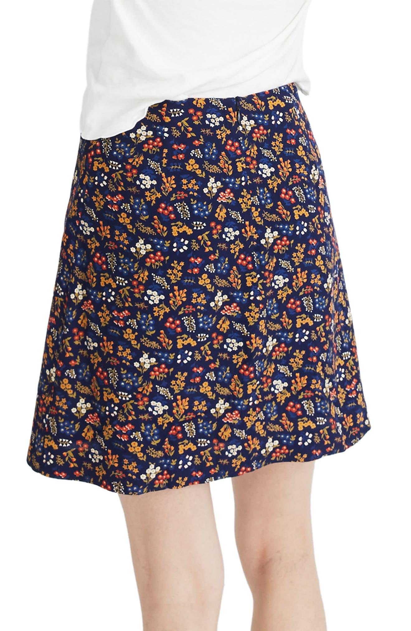 Side Button A-Line Miniskirt,                             Alternate thumbnail 2, color,                             BLUE NIGHT
