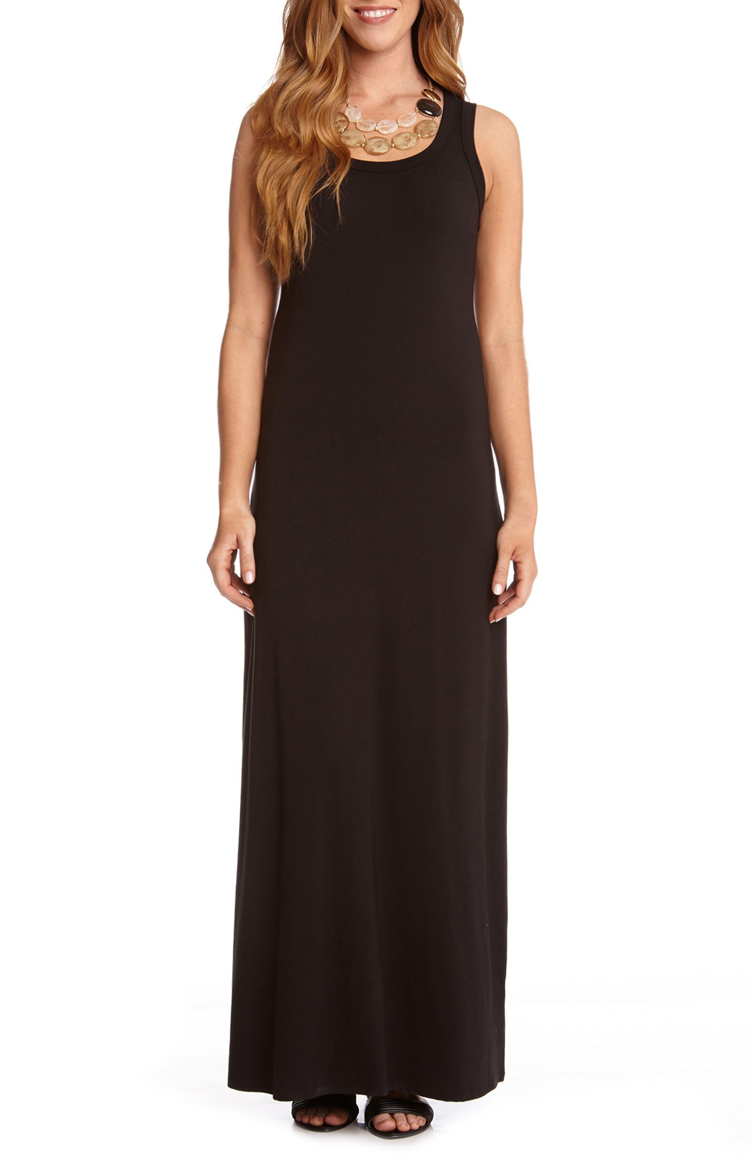 Maxi Tank Dress,                             Alternate thumbnail 2, color,                             BLACK