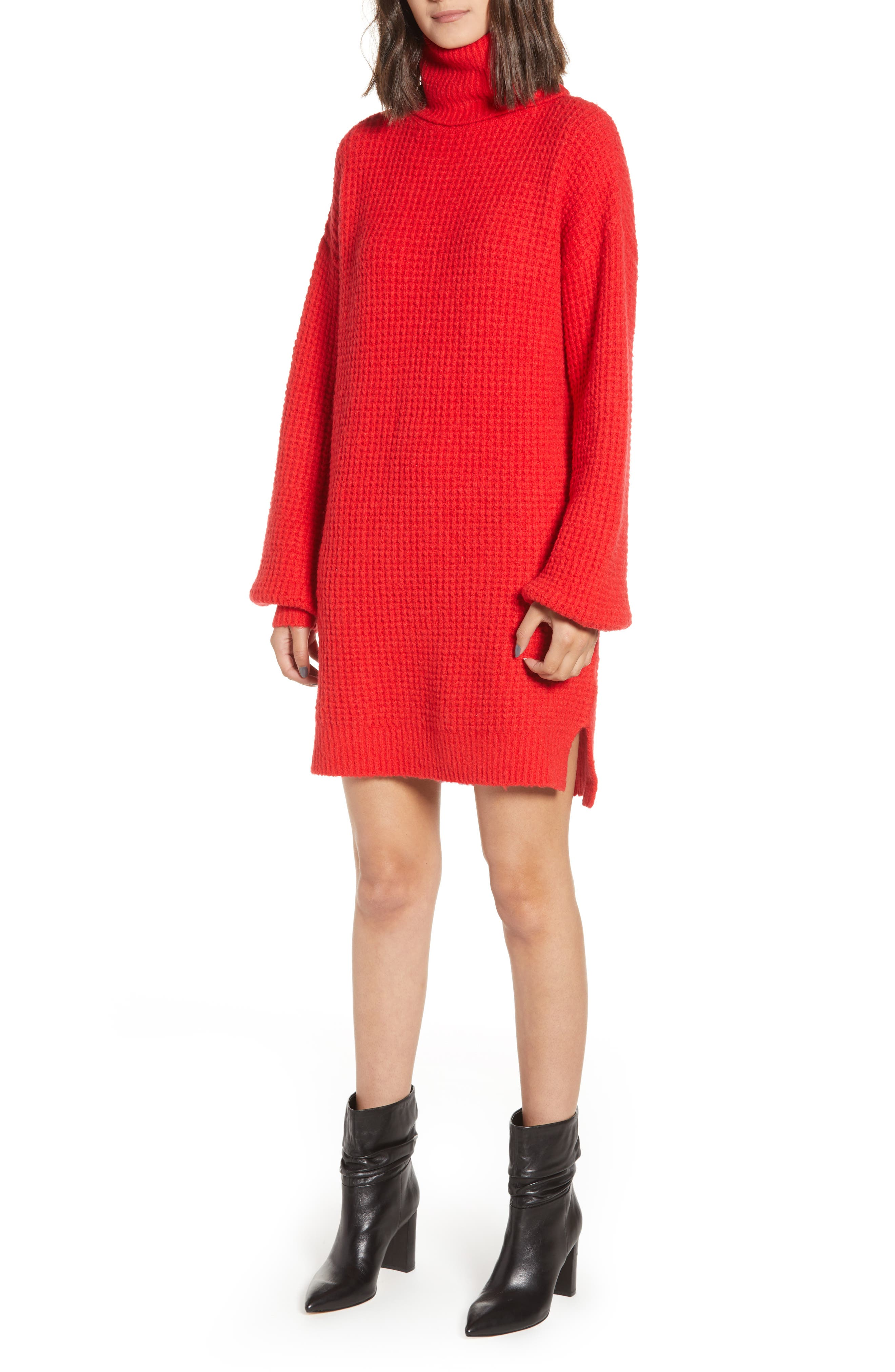 Holly Red Sweater Dress, Main, color, 600