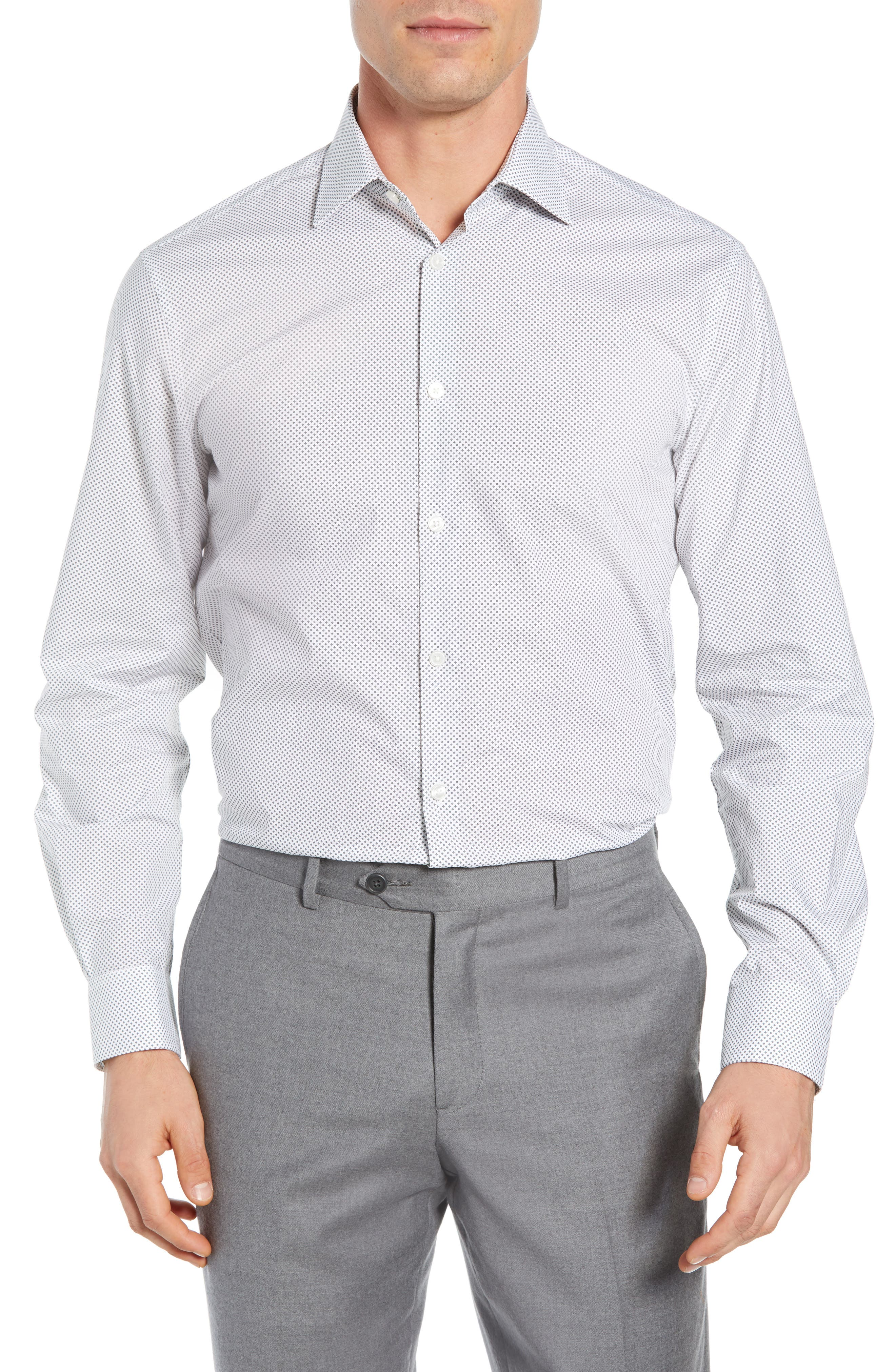 Regular Fit Geometric Dress Shirt,                         Main,                         color, THUNDER GREY
