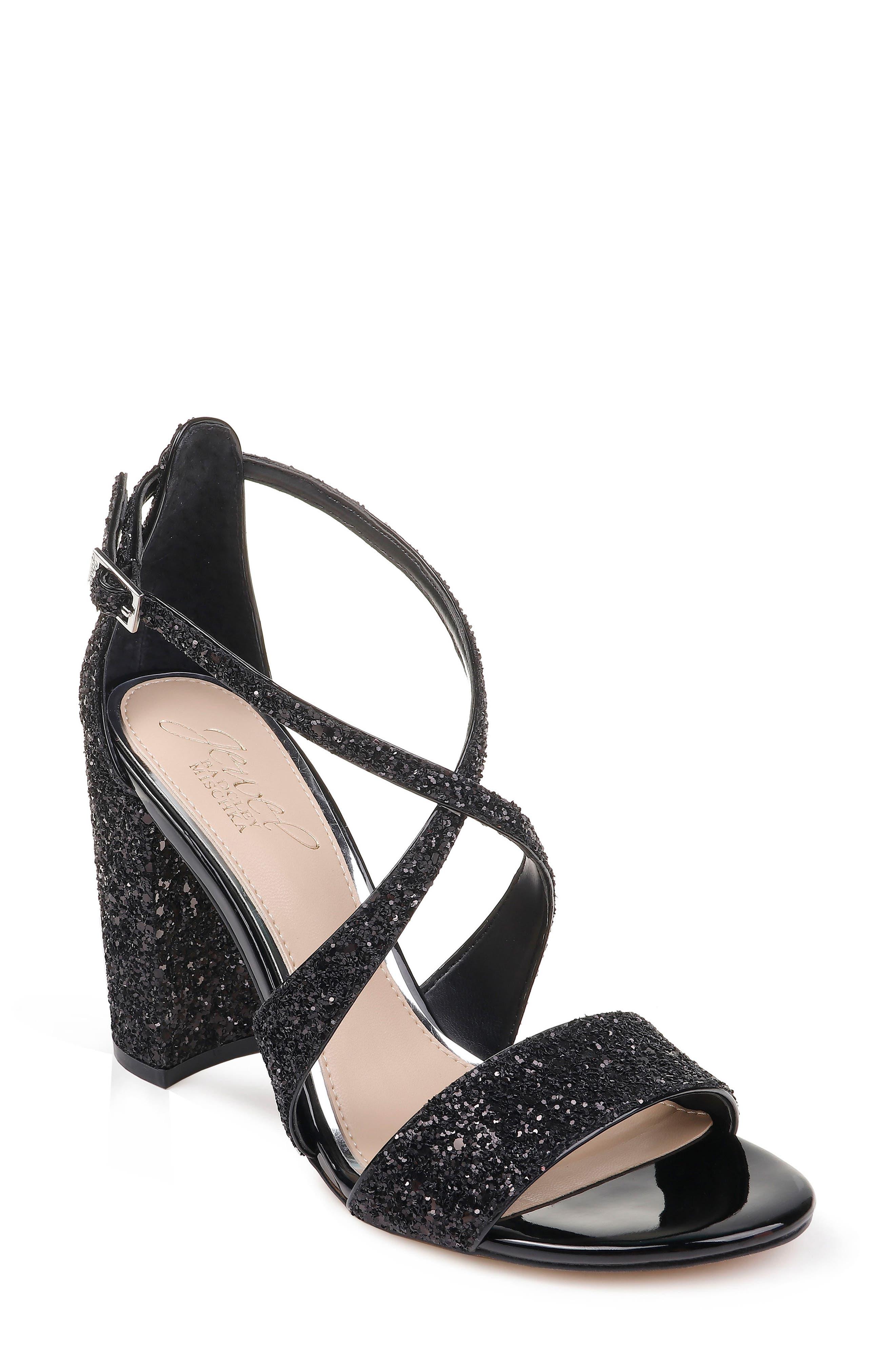 Cook Block Heel Glitter Sandal,                             Main thumbnail 1, color,                             BLACK LEATHER