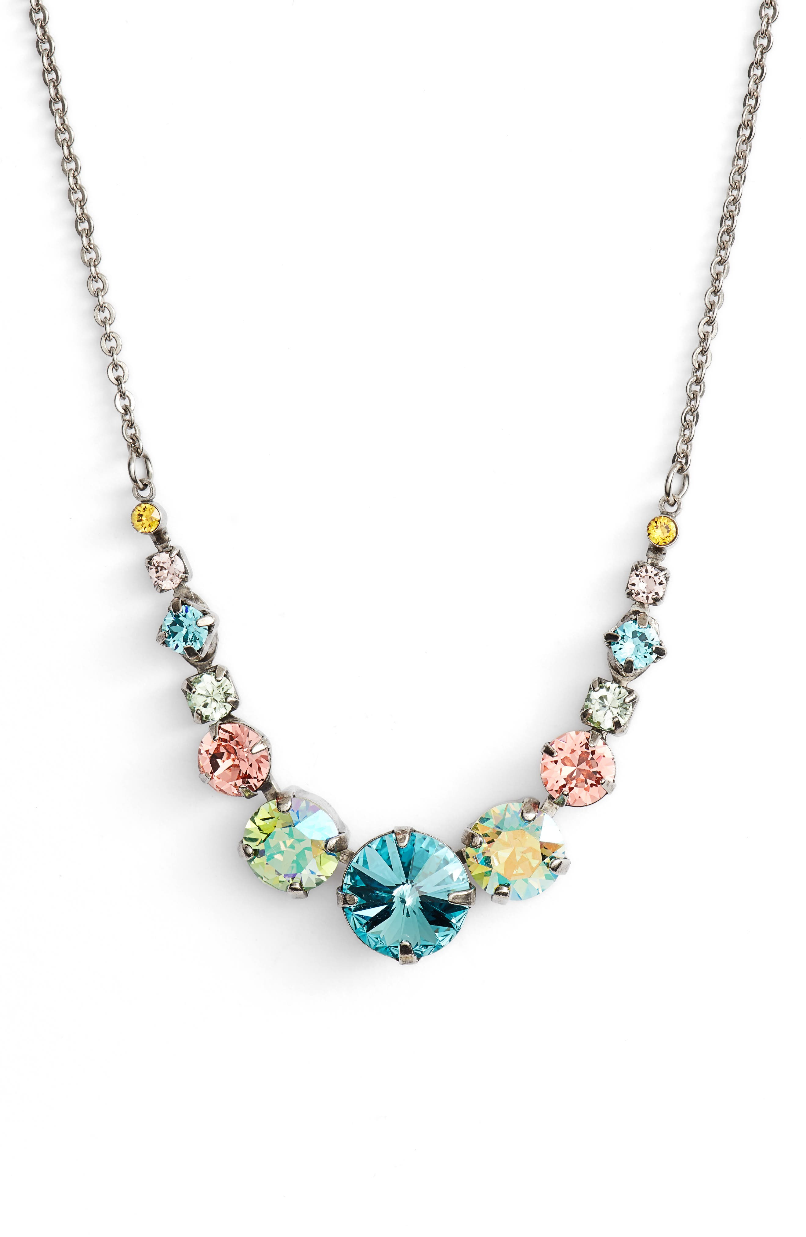 Delicate Round Crystal Necklace,                             Main thumbnail 1, color,                             AQUA/ PINK/ GREEN