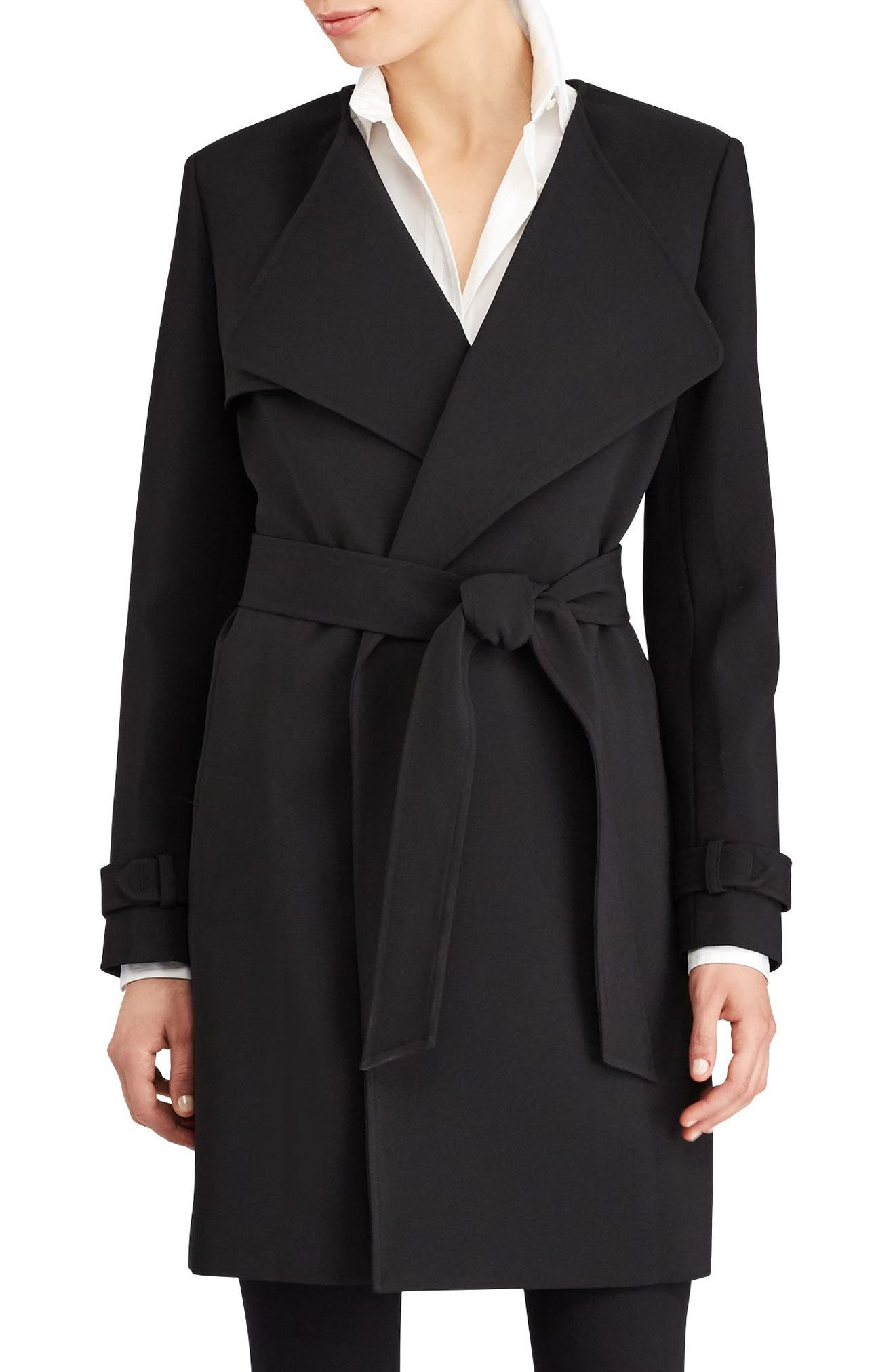 Flap Detail Crepe Wrap Coat,                             Main thumbnail 1, color,                             001