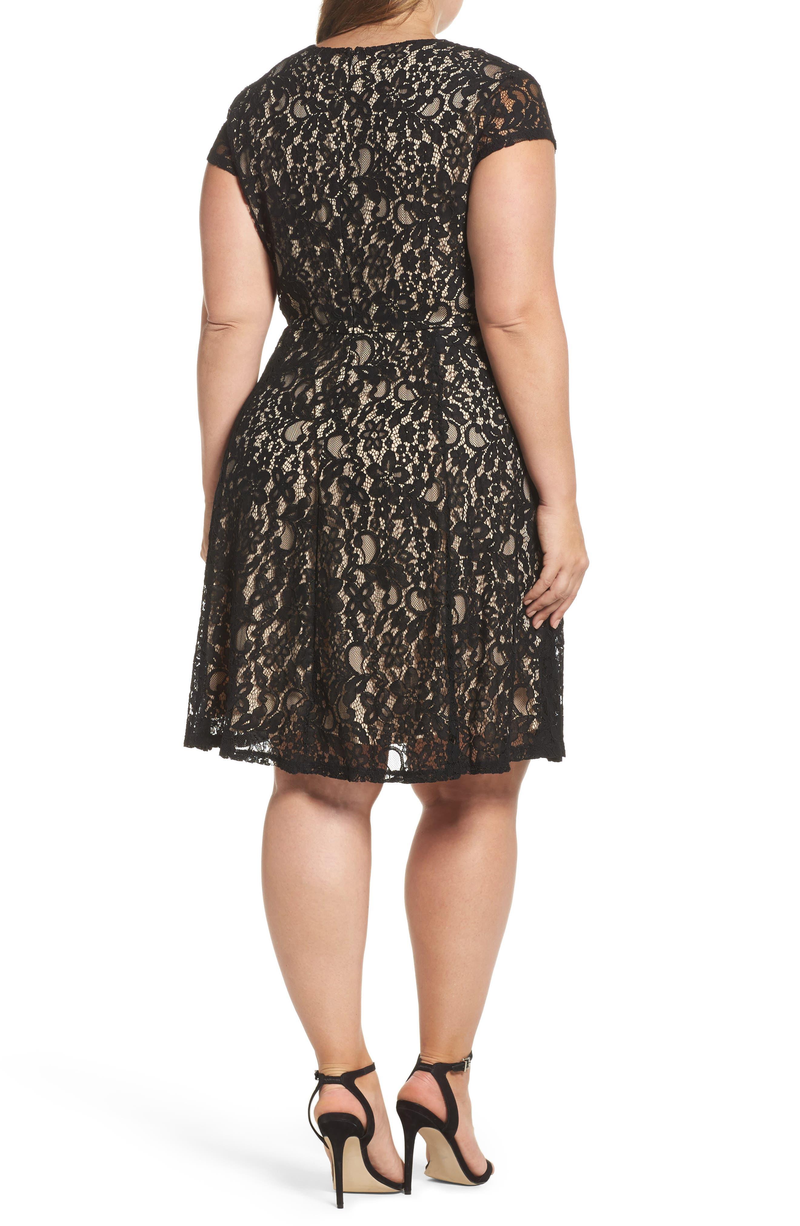 Tie Front Lace Dress,                             Alternate thumbnail 2, color,                             001