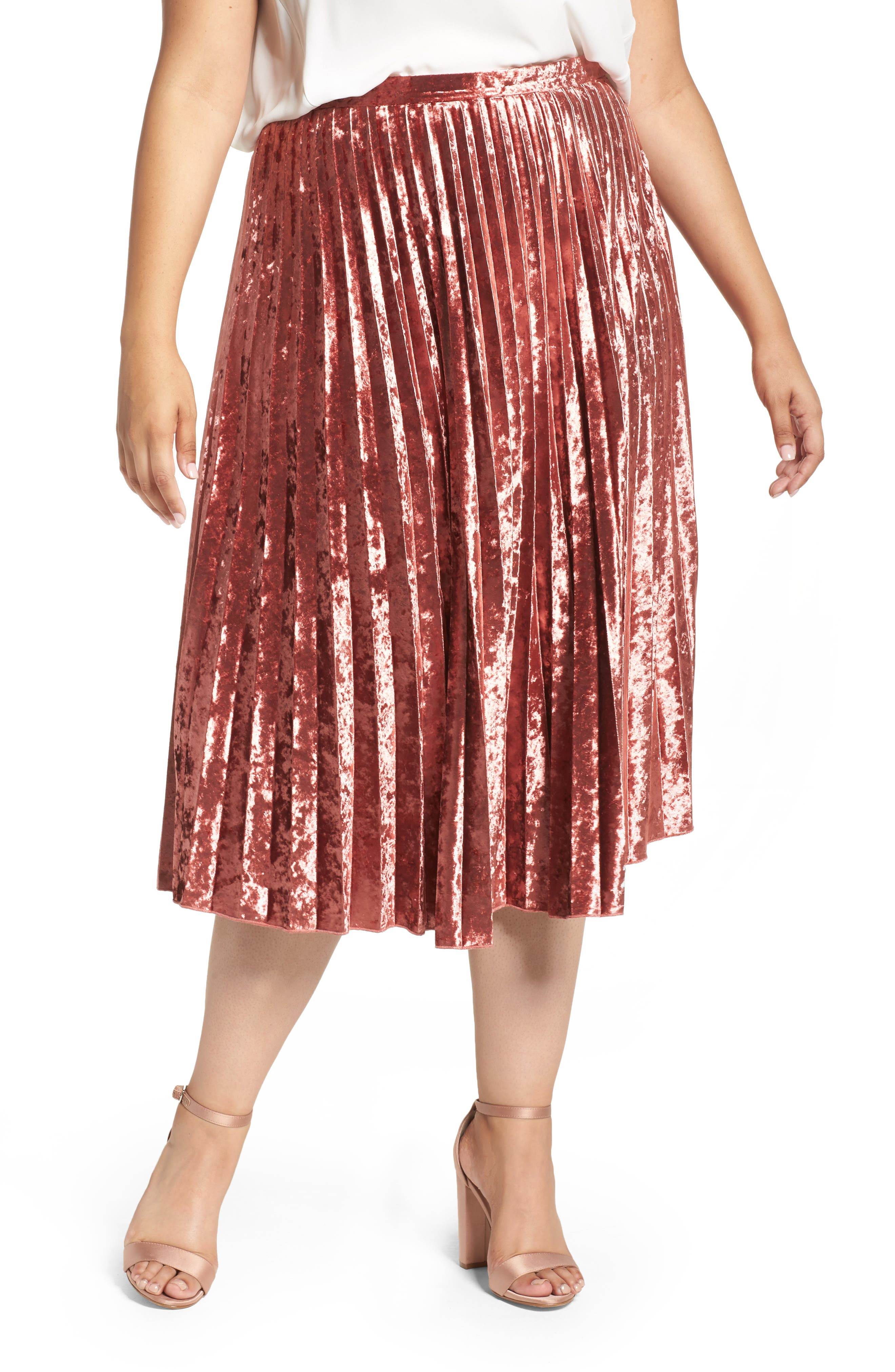 Velvet Pleat Skirt,                             Main thumbnail 2, color,