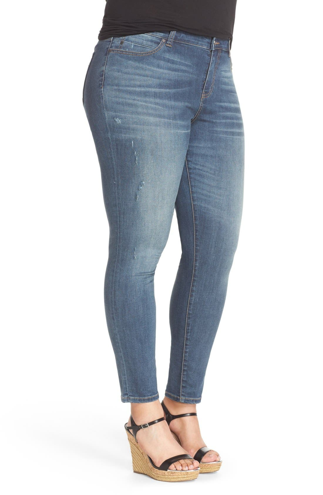 Distressed Stretch Ankle Skinny Jeans,                             Alternate thumbnail 3, color,