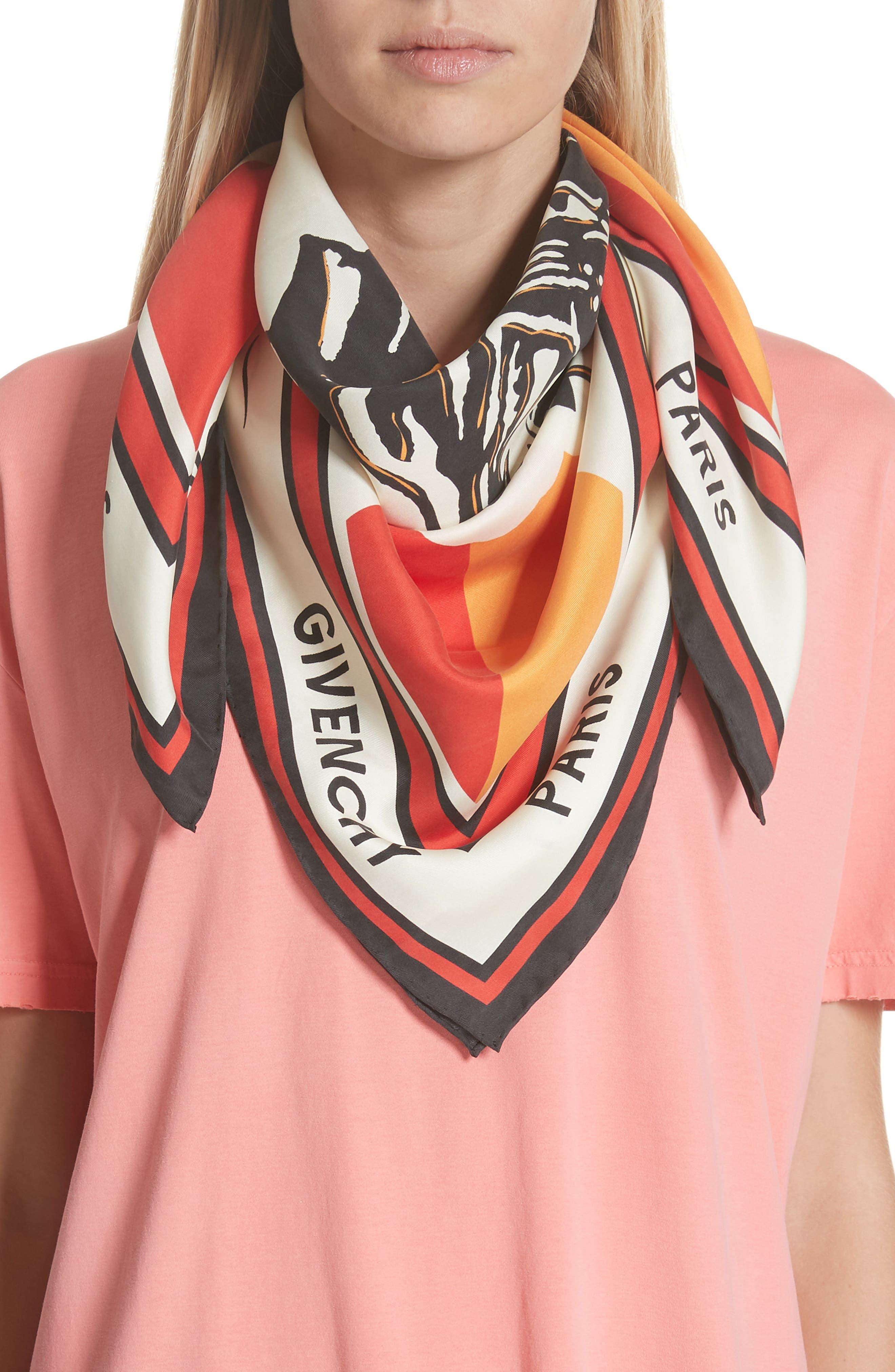 Catwings Silk Twill Scarf,                             Alternate thumbnail 2, color,                             WHITE/ RED