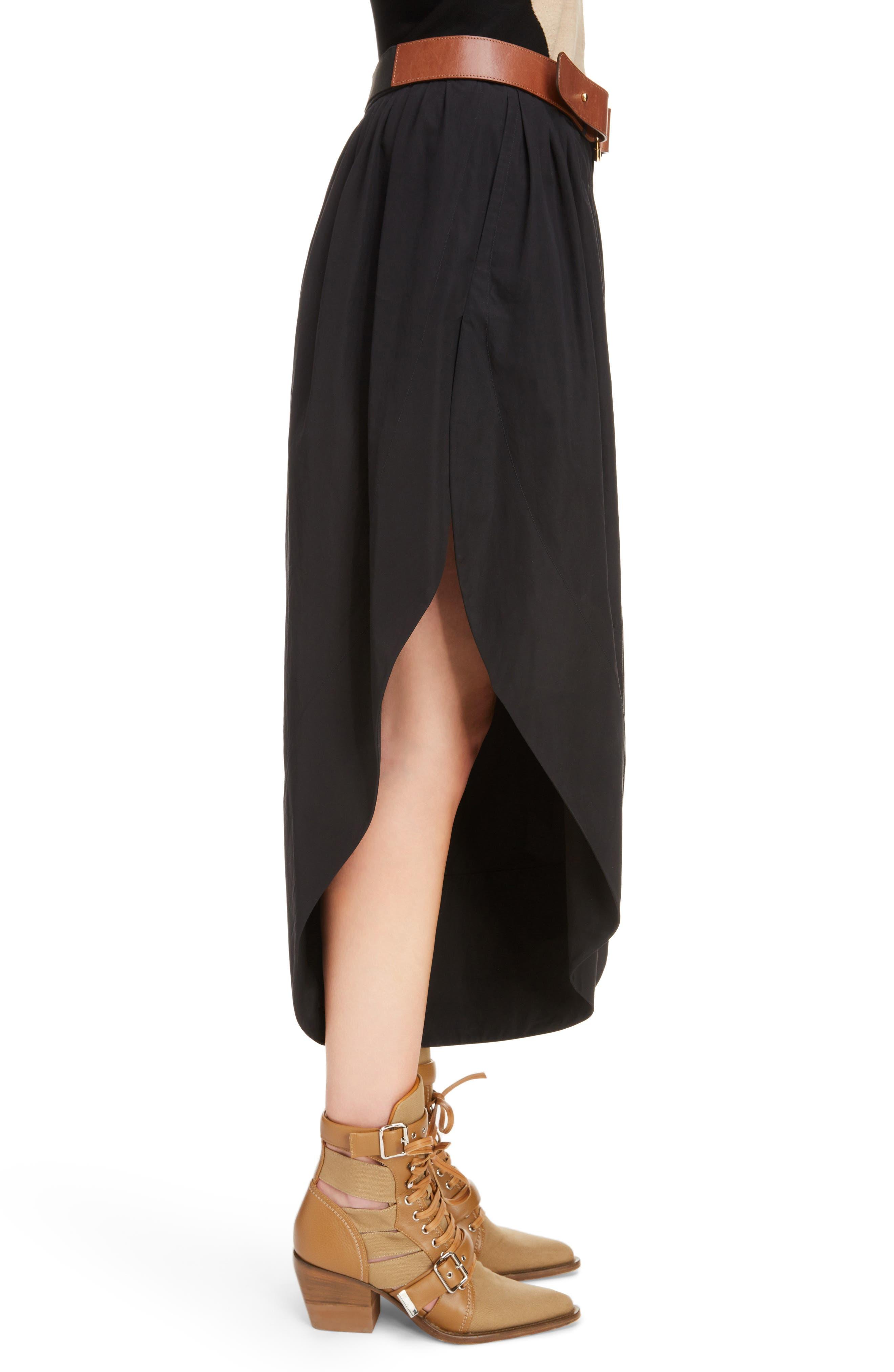 Side Slit Belted Poplin Pants,                             Alternate thumbnail 3, color,                             BLACK