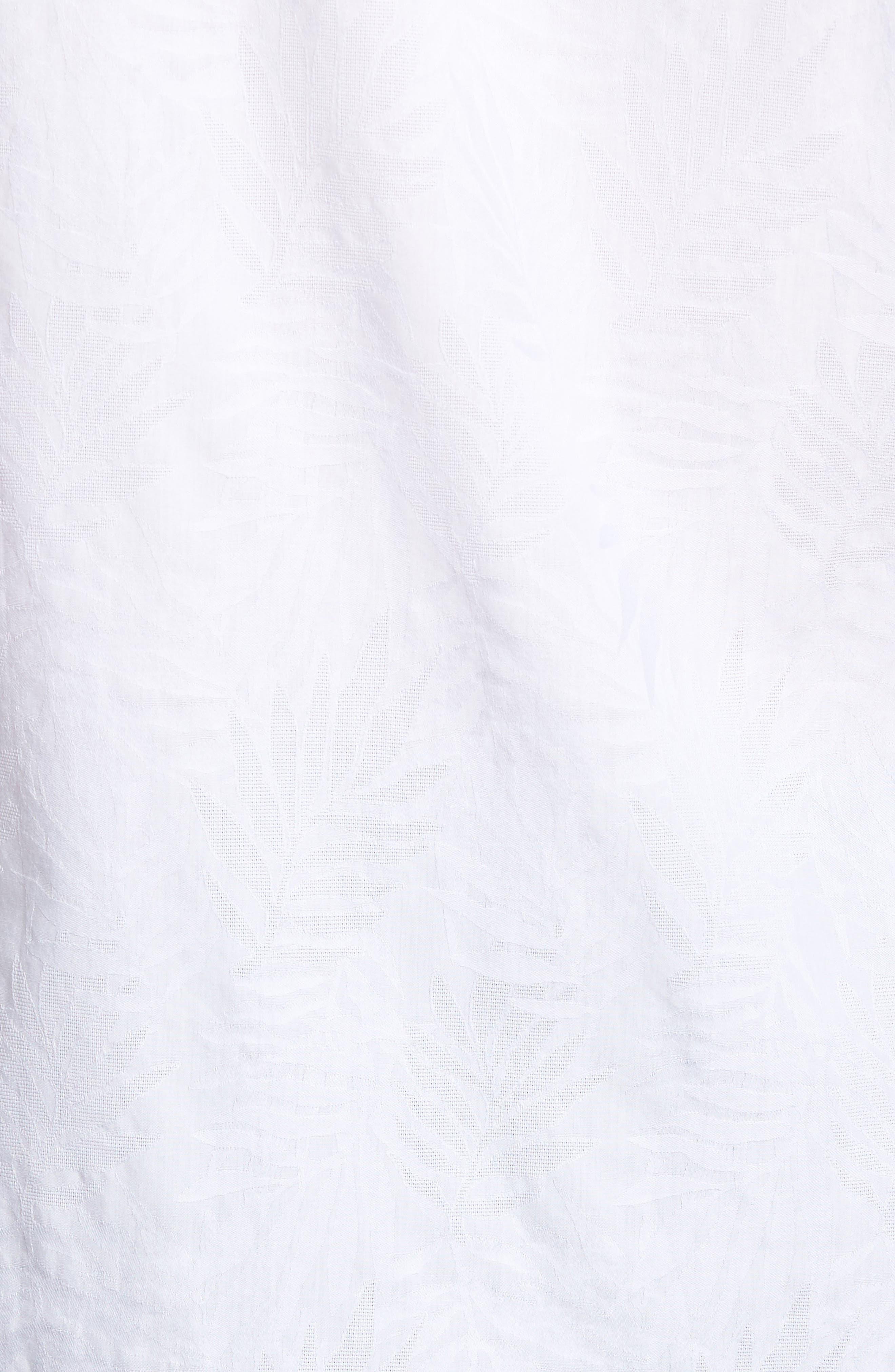 Slim Fit Tonal Leaf Jacquard Sport Shirt,                             Alternate thumbnail 5, color,                             100