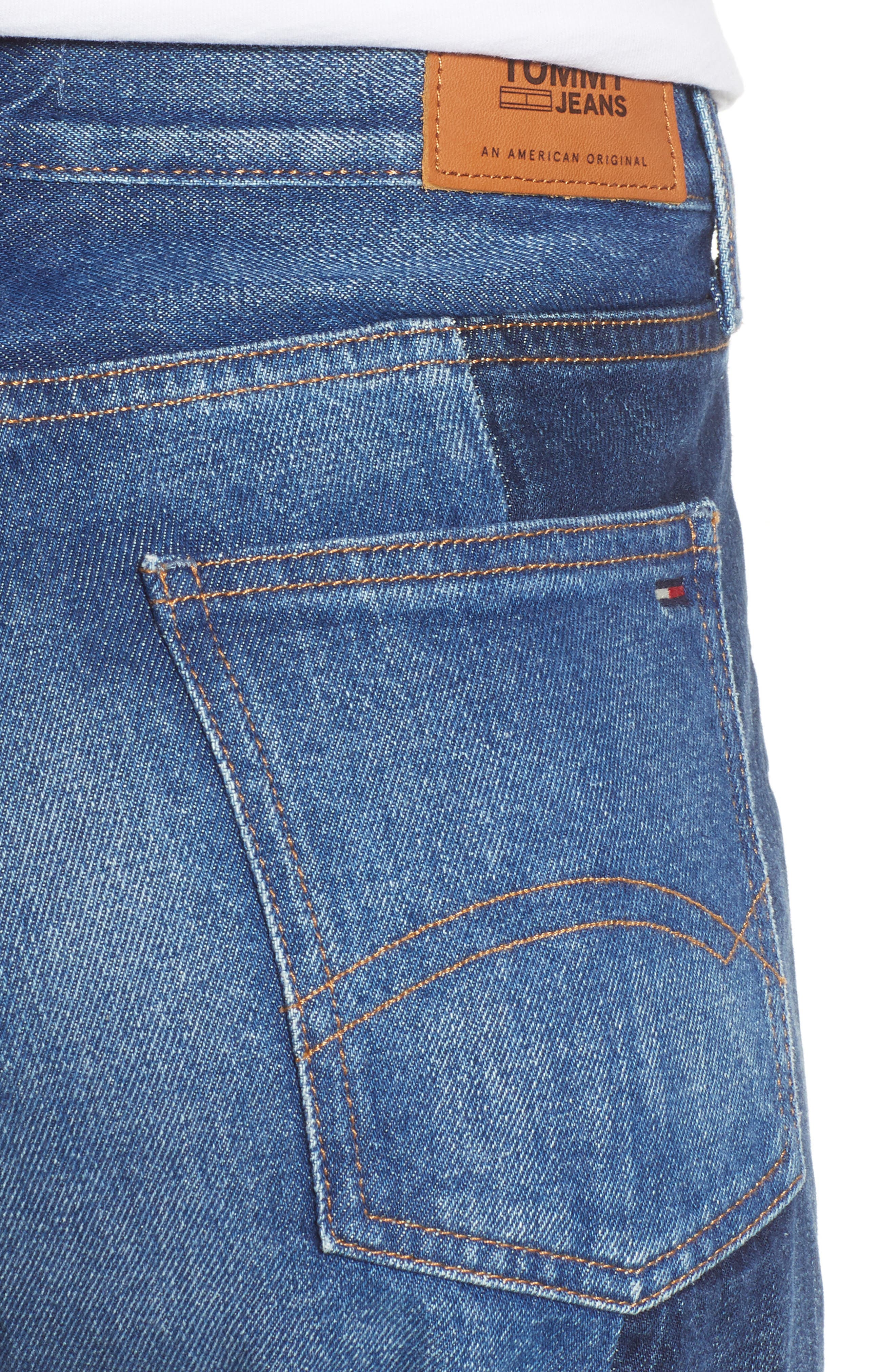 Izzy Paneled Slim Ankle Jeans,                             Alternate thumbnail 4, color,                             TOMMY JEAN NEW COMBO