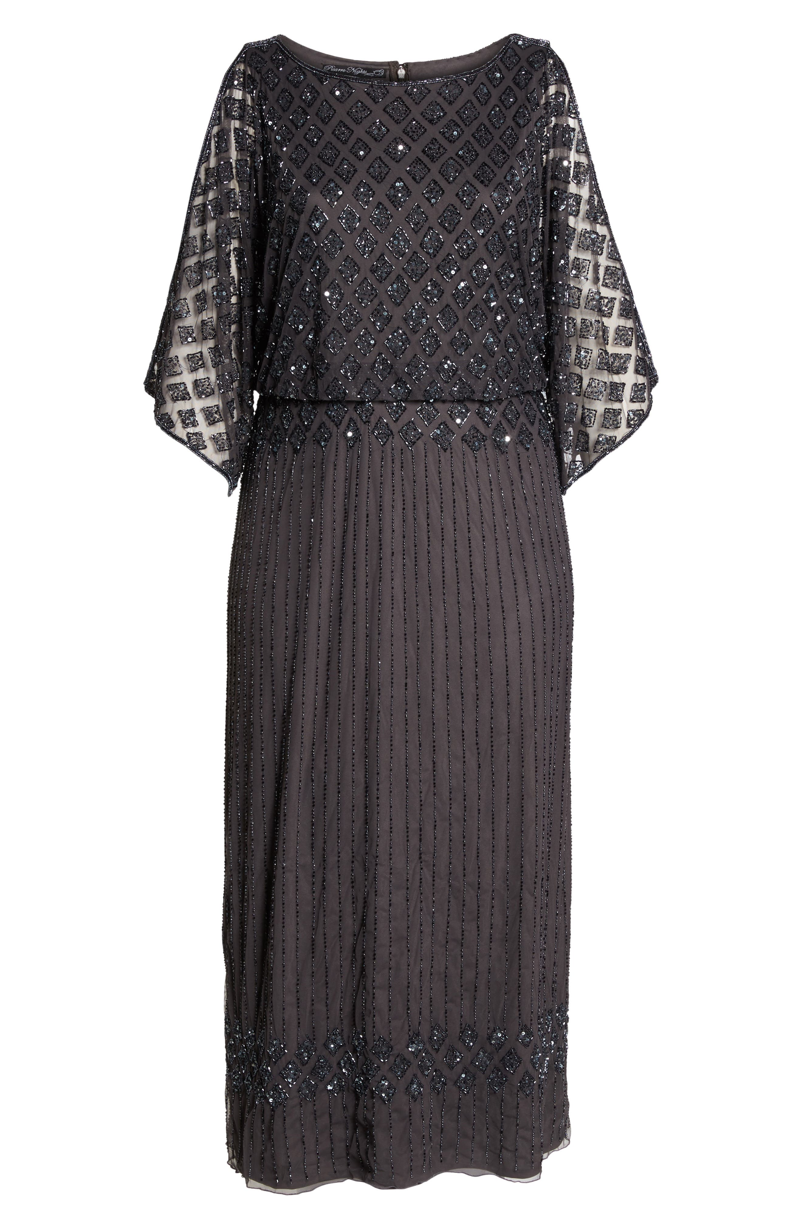 PISARRO NIGHTS,                             Diamond Motif Mesh Blouson Gown,                             Alternate thumbnail 6, color,                             020