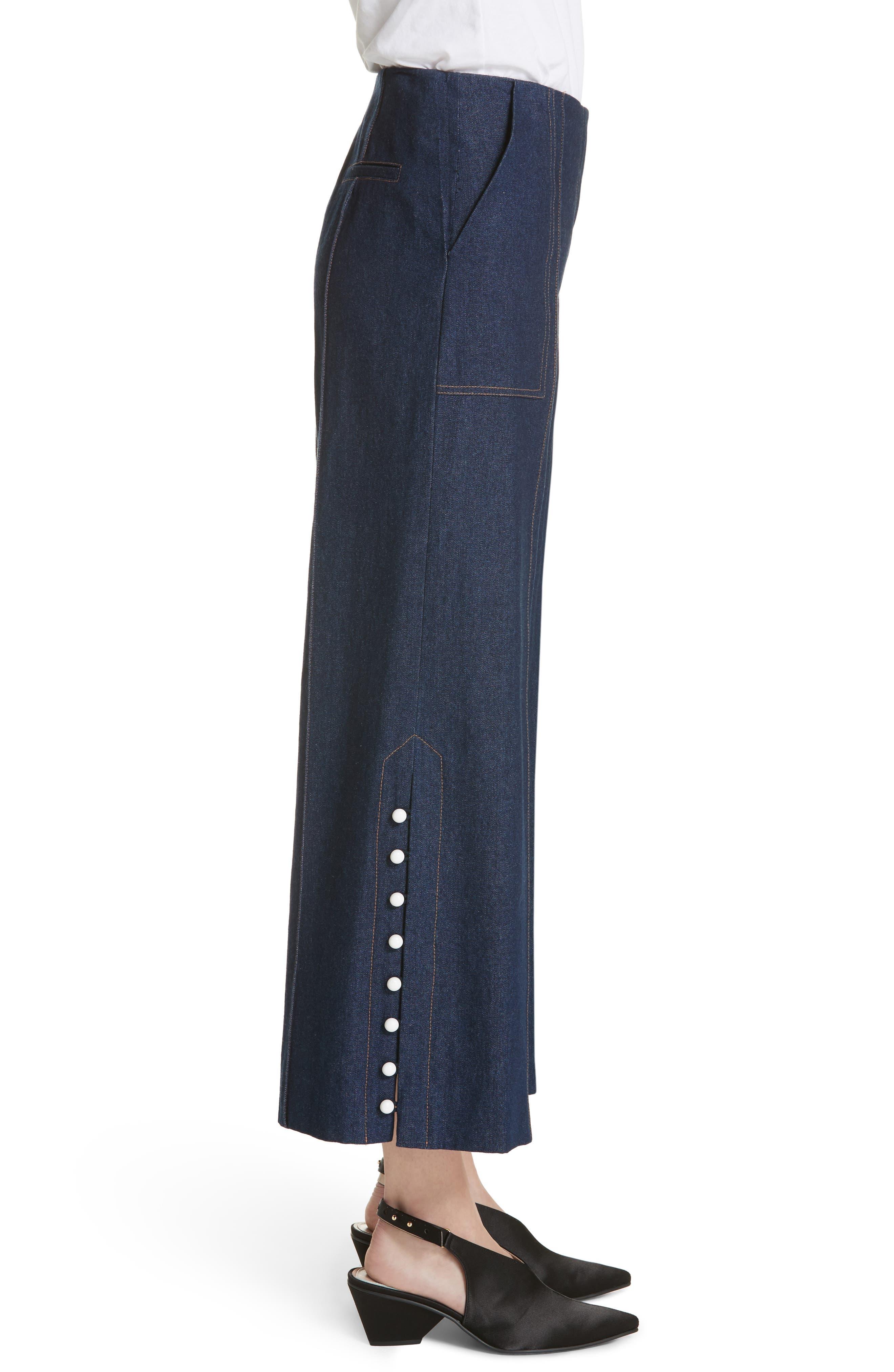Dune Imitation Pearl Trim Wide Leg Crop Jeans,                             Alternate thumbnail 3, color,                             400