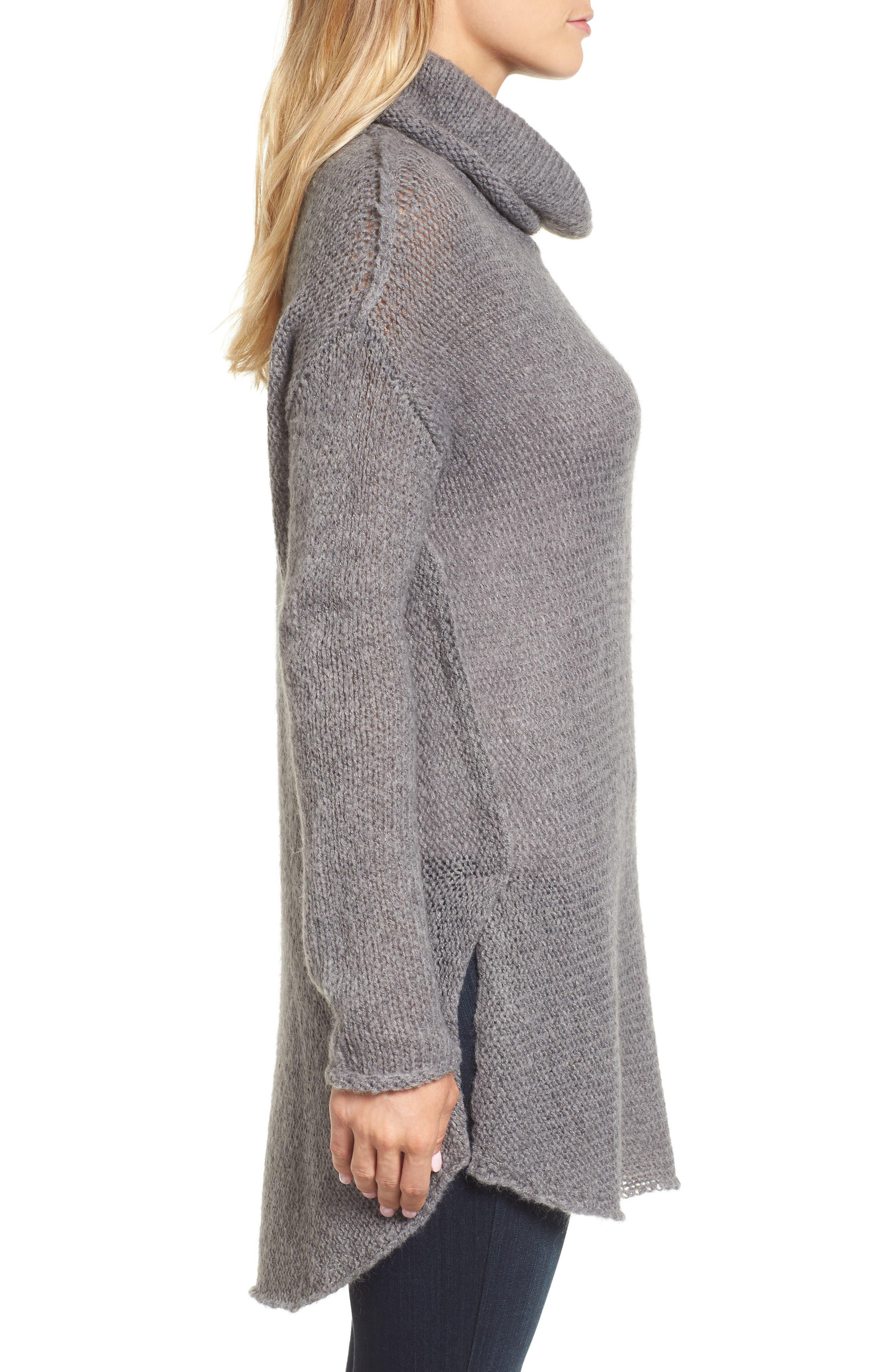 Tunic Sweater,                             Alternate thumbnail 3, color,                             GREY DARK HEATHER