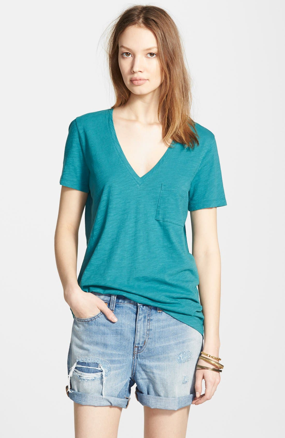 Whisper Cotton V-Neck Pocket Tee,                             Main thumbnail 20, color,