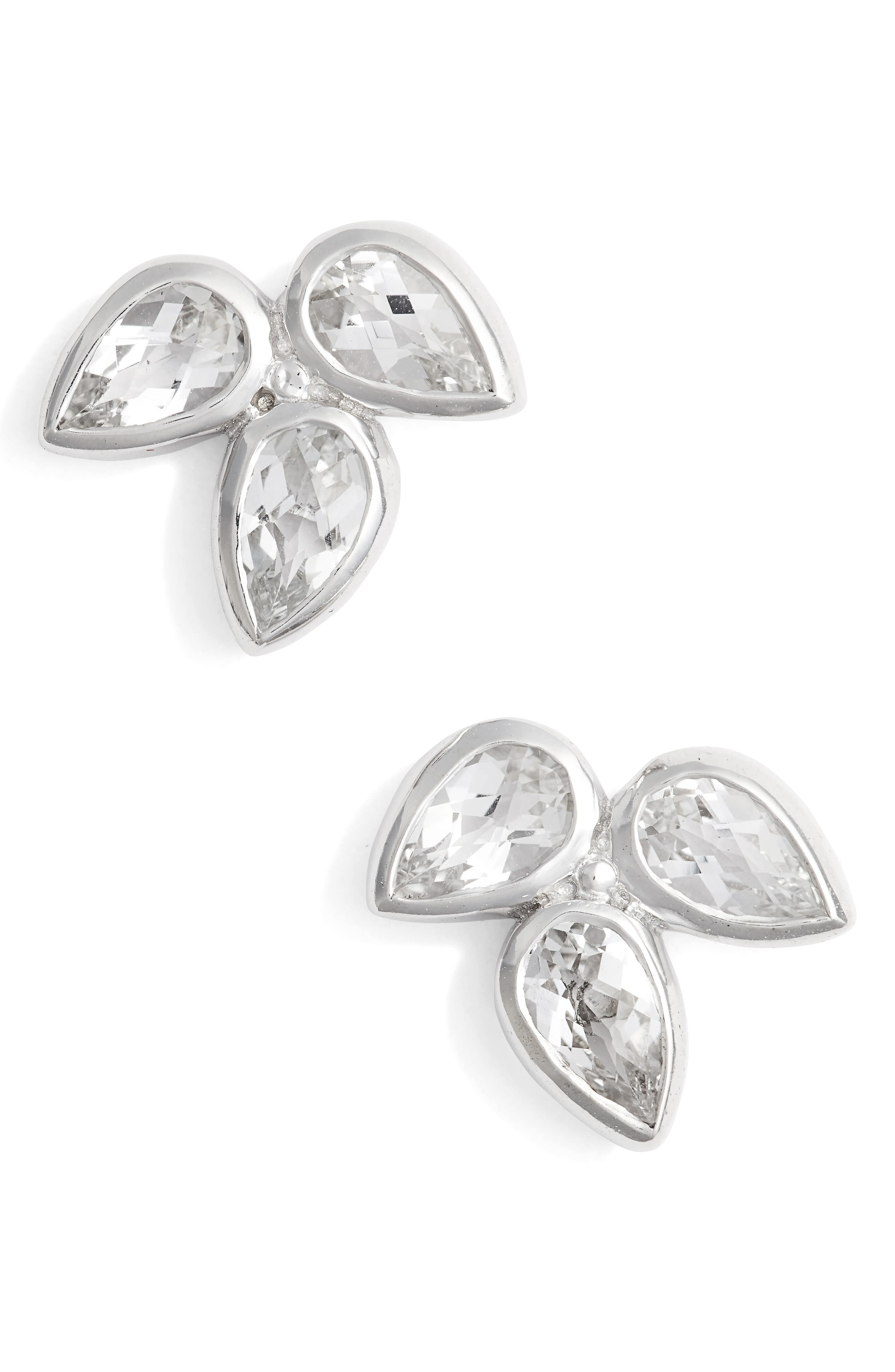 Micro Bouquet White Topaz Post Earrings,                             Main thumbnail 1, color,                             WHITE TOPAZ