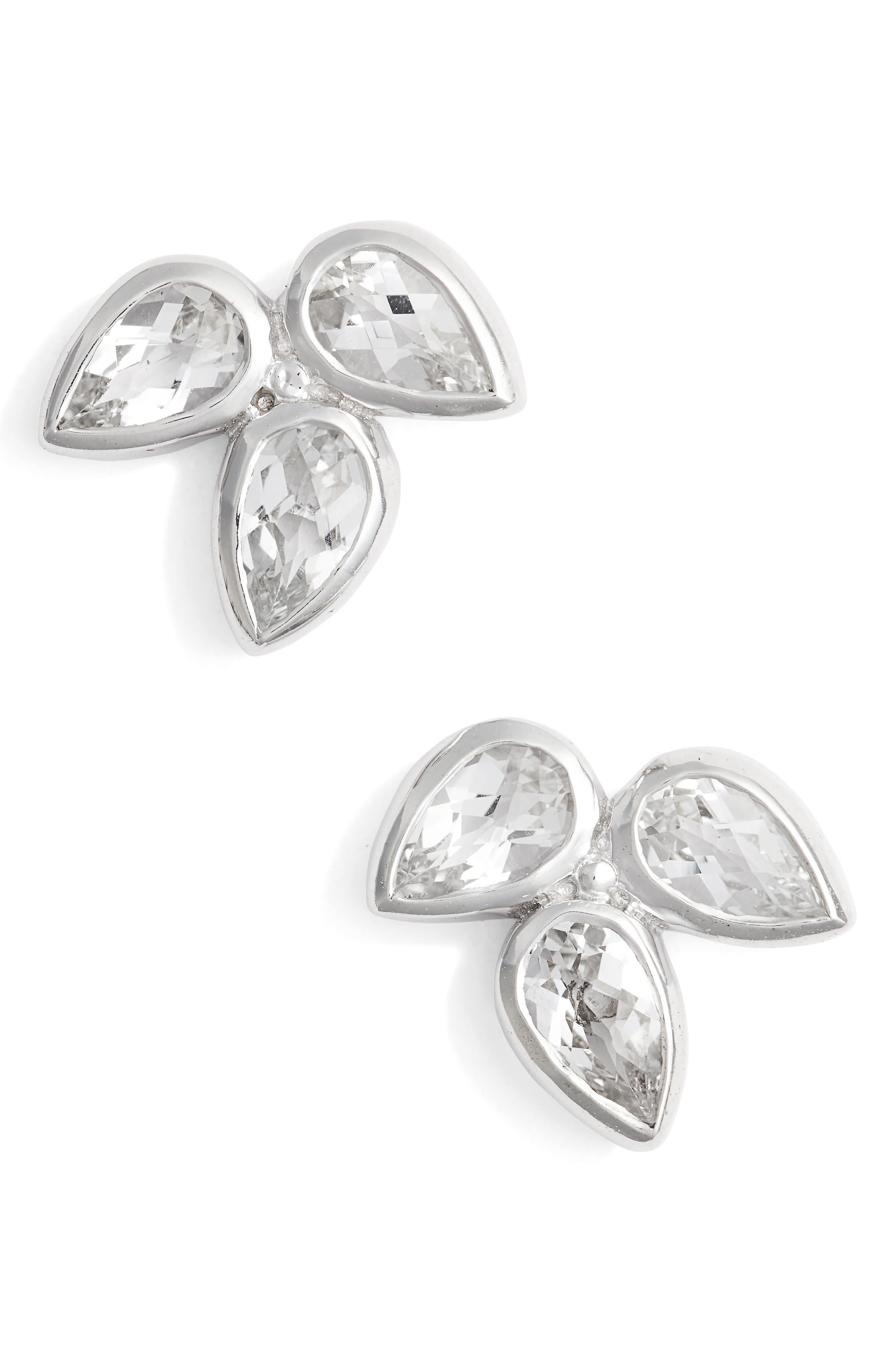 Micro Bouquet White Topaz Post Earrings,                         Main,                         color, WHITE TOPAZ