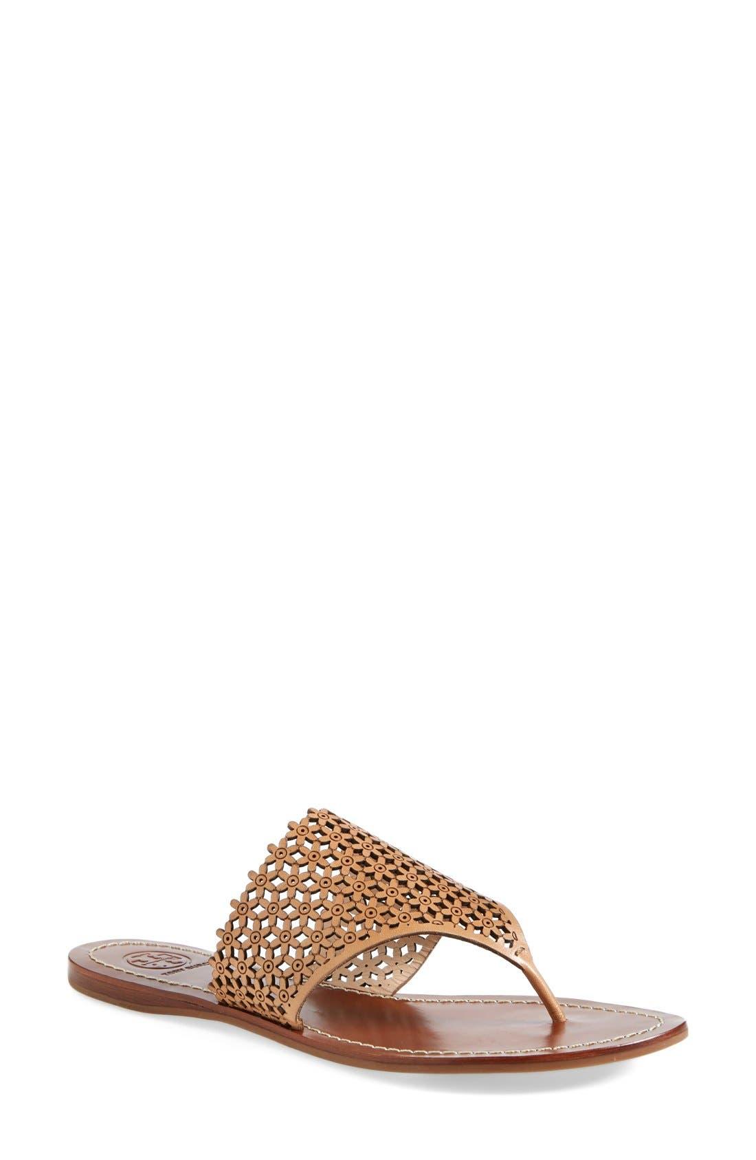 TORY BURCH,                             'Daisy' Perforated Sandal,                             Main thumbnail 1, color,                             671