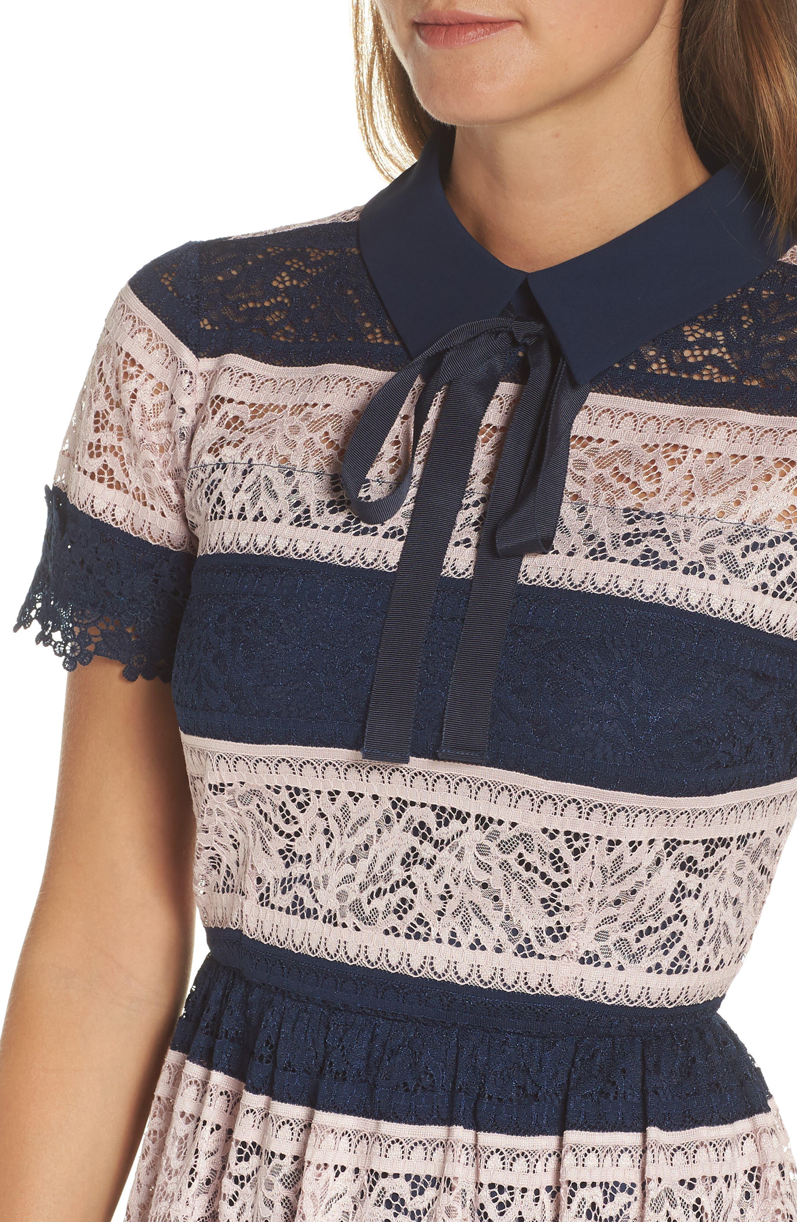 Stripe Lace Fit & Flare Dress,                             Alternate thumbnail 4, color,                             410