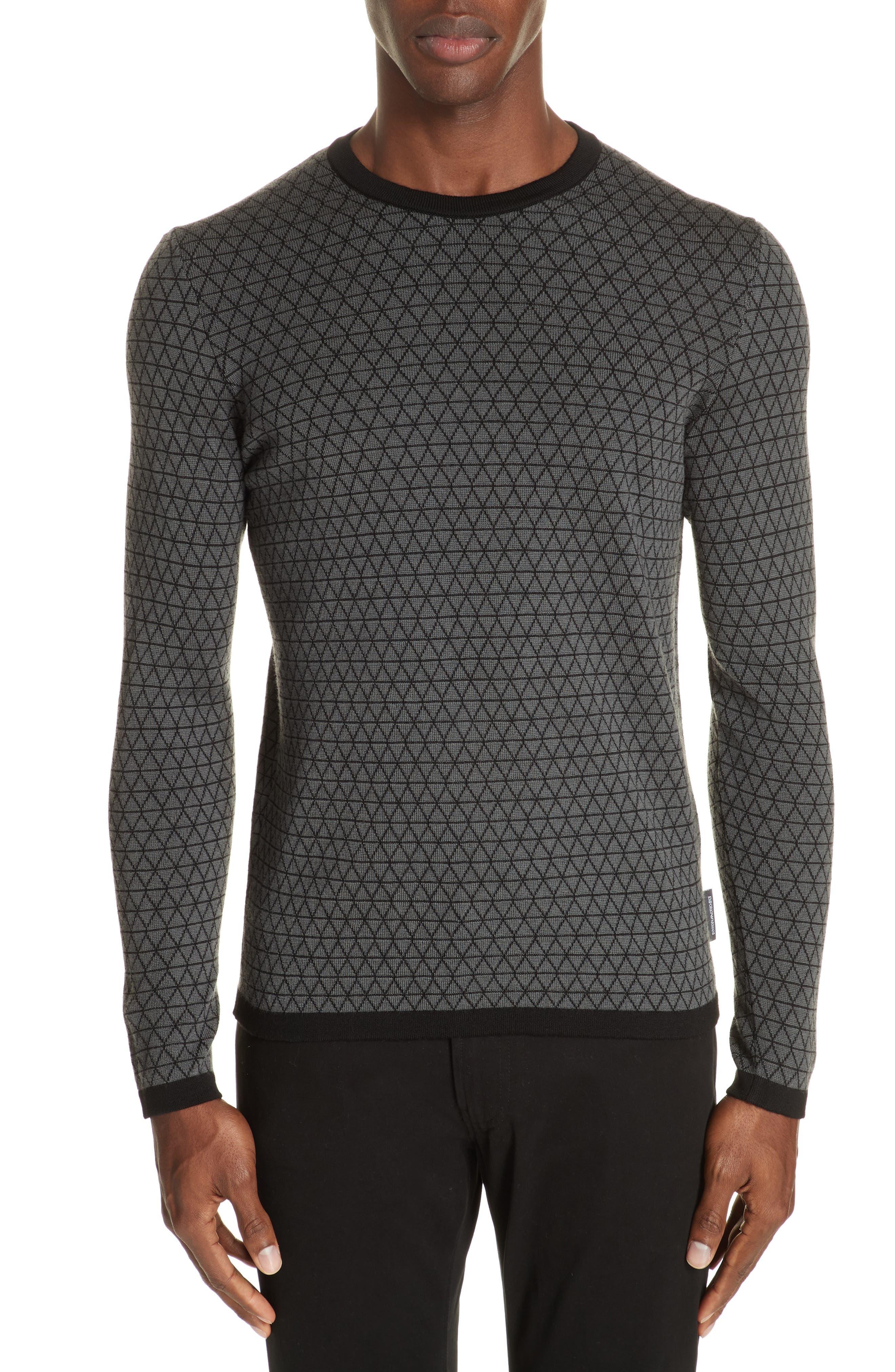 EMPORIO ARMANI Bi-Color Geometric Jacquard Wool Sweater in Grey Multi