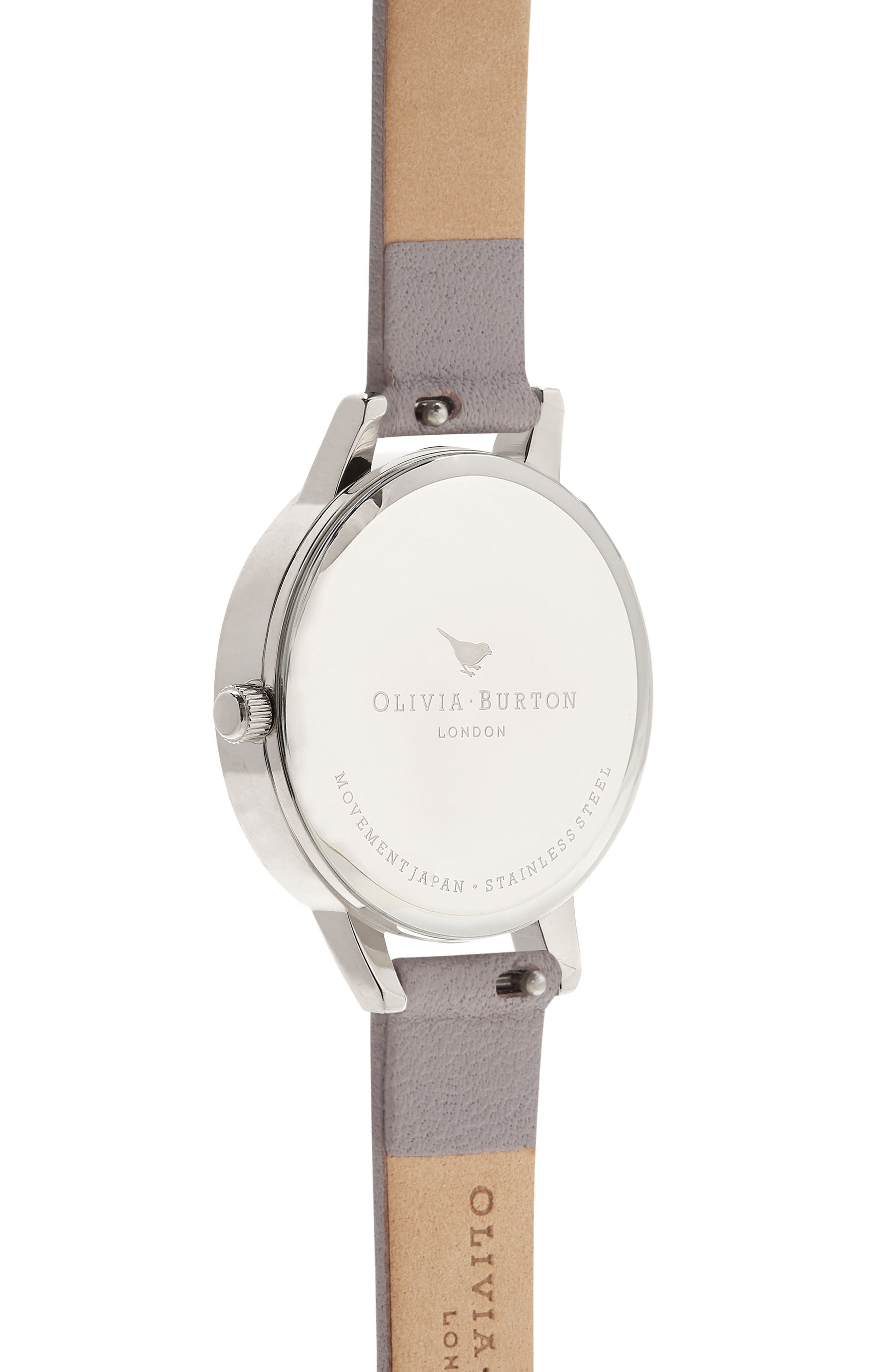 Glasshouse Leather Strap Watch, 30mm,                             Alternate thumbnail 2, color,                             GREY/ FLORAL/ SILVER