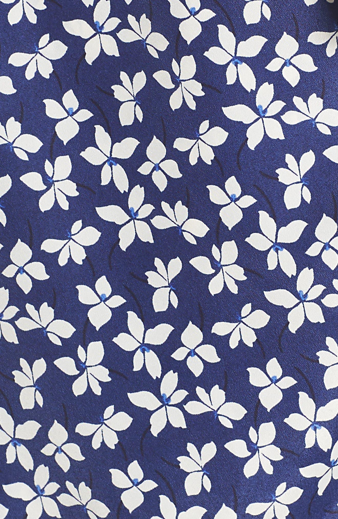 CHELSEA28,                             Floral Print Faux Wrap Dress,                             Alternate thumbnail 6, color,                             NAVY