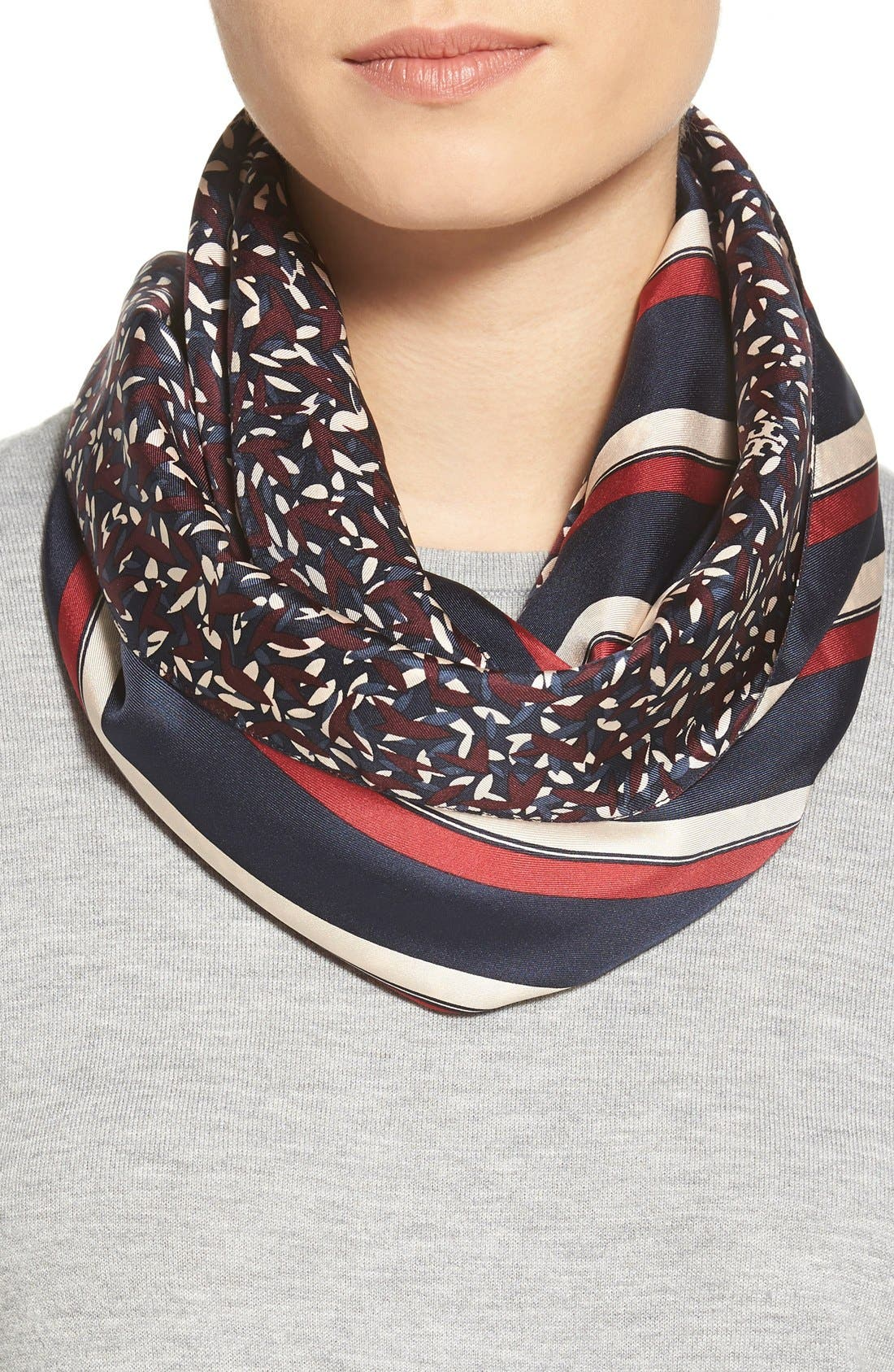 Stripe & Confetti Print Silk Infinity Scarf, Main, color, 600