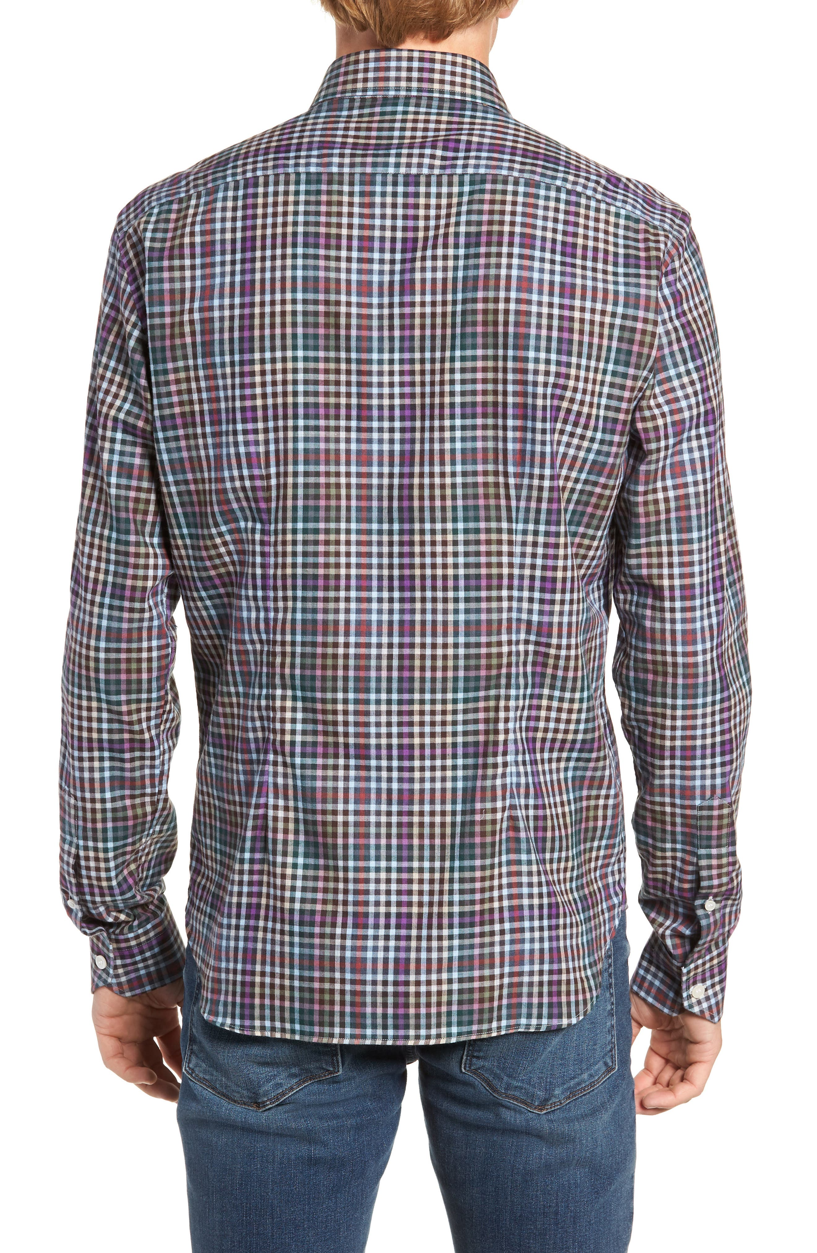 Tailored Fit Check Sport Shirt,                             Alternate thumbnail 3, color,                             020