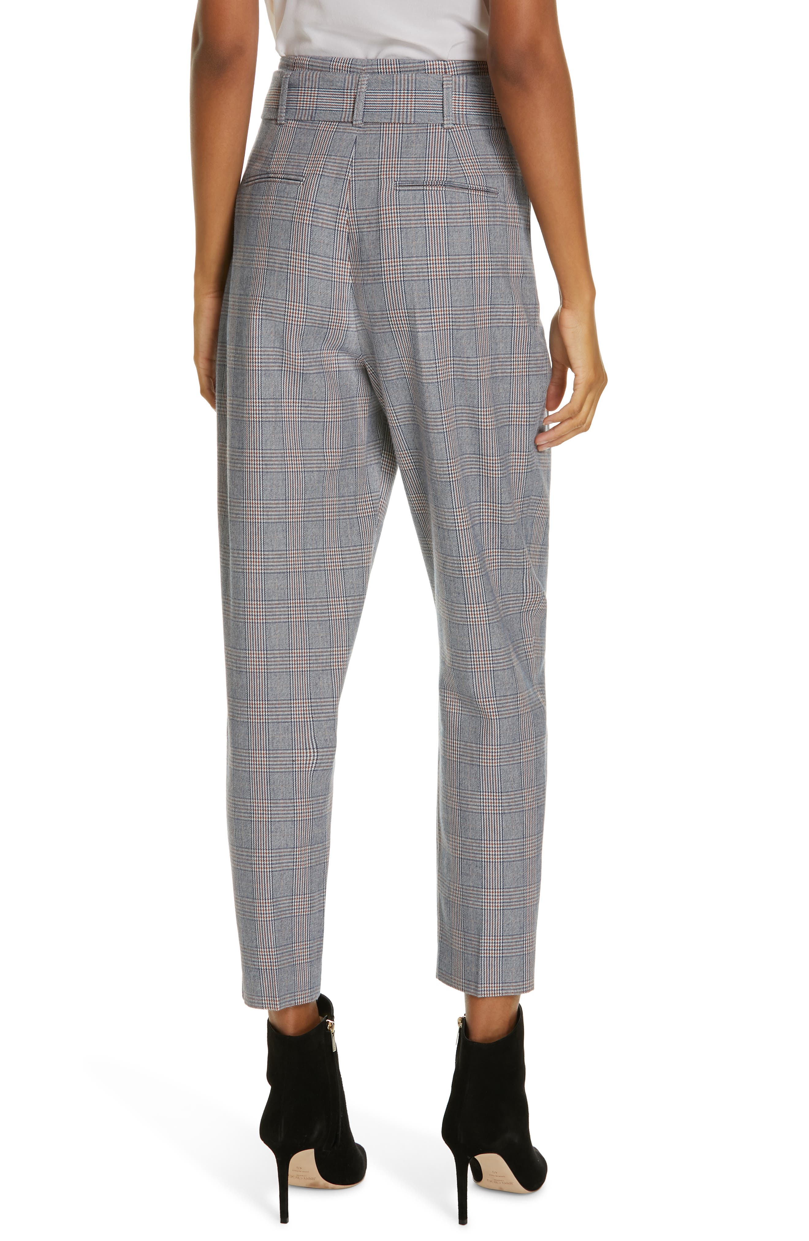 Marcelle Plaid Cotton & Wool Tie Waist Trousers,                             Alternate thumbnail 2, color,                             BLUE MULTI