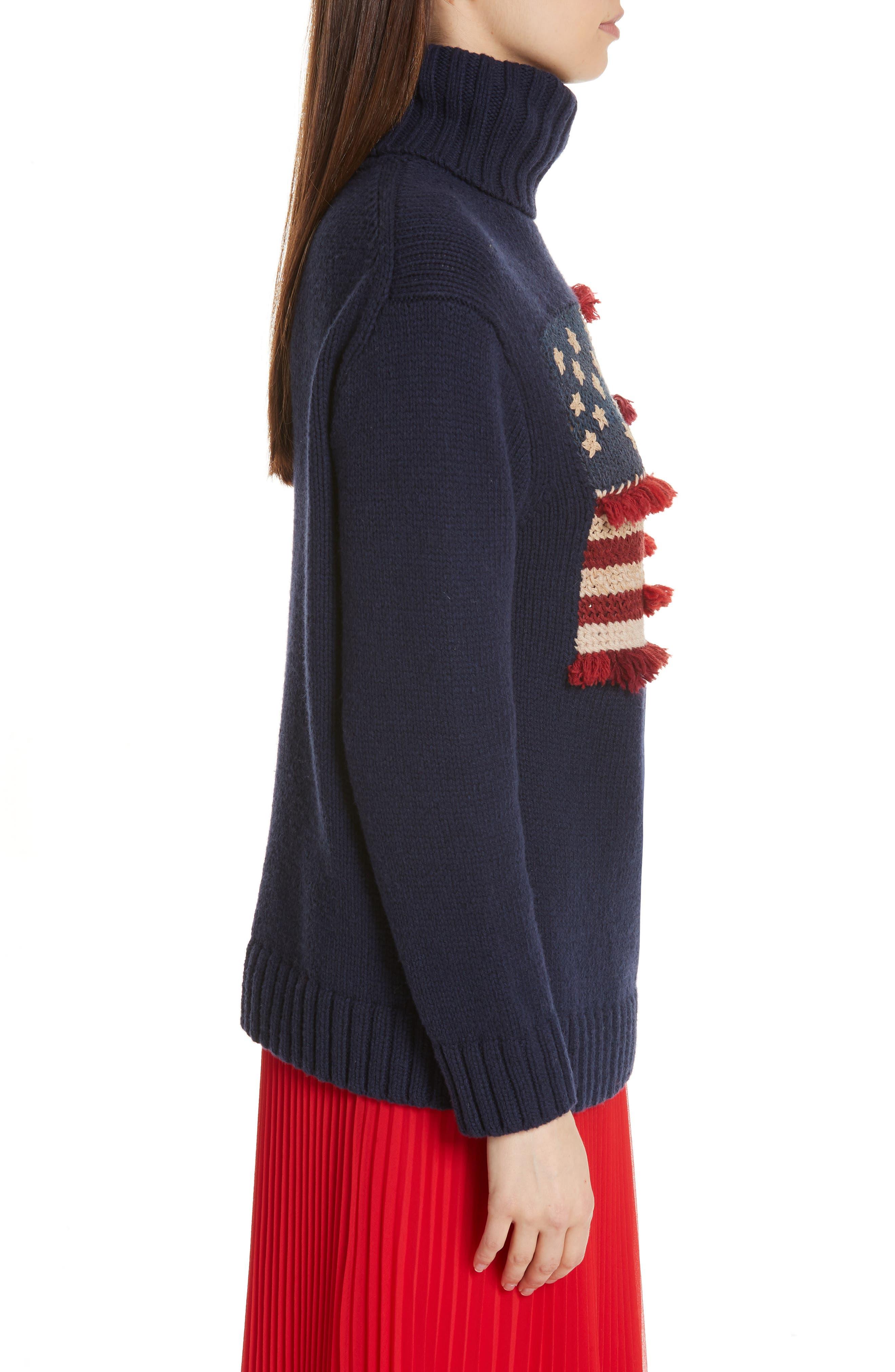 Fringe Flag Wool Sweater,                             Alternate thumbnail 3, color,                             NAVY MULTI