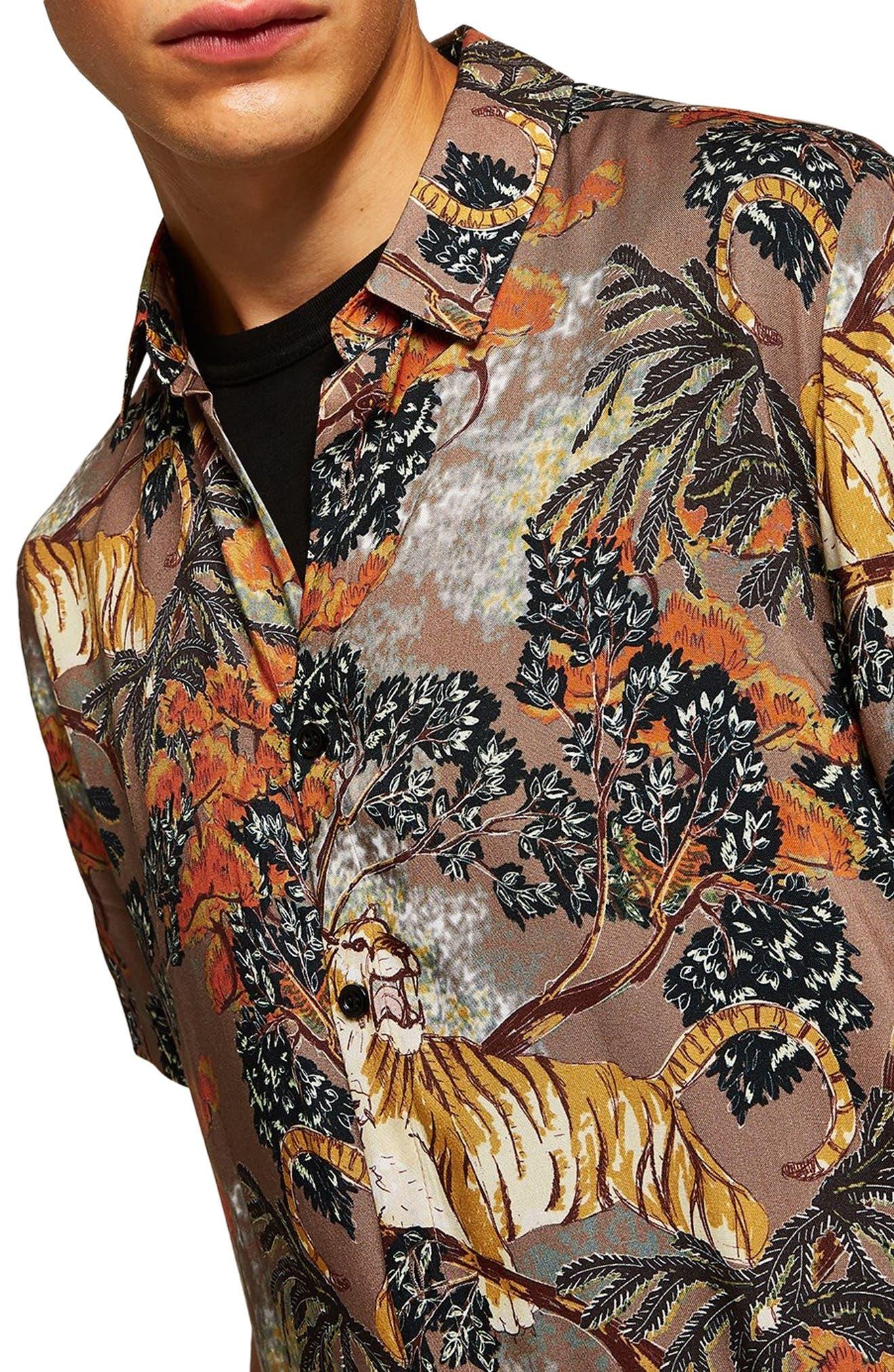 Suburb Tiger Print Shirt,                             Alternate thumbnail 2, color,                             ORANGE MULTI
