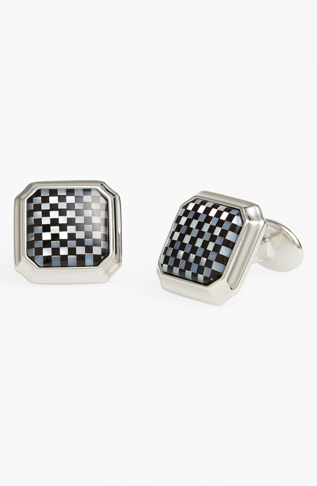 Mother of Pearl & Onyx Cuff Links,                         Main,                         color, 040