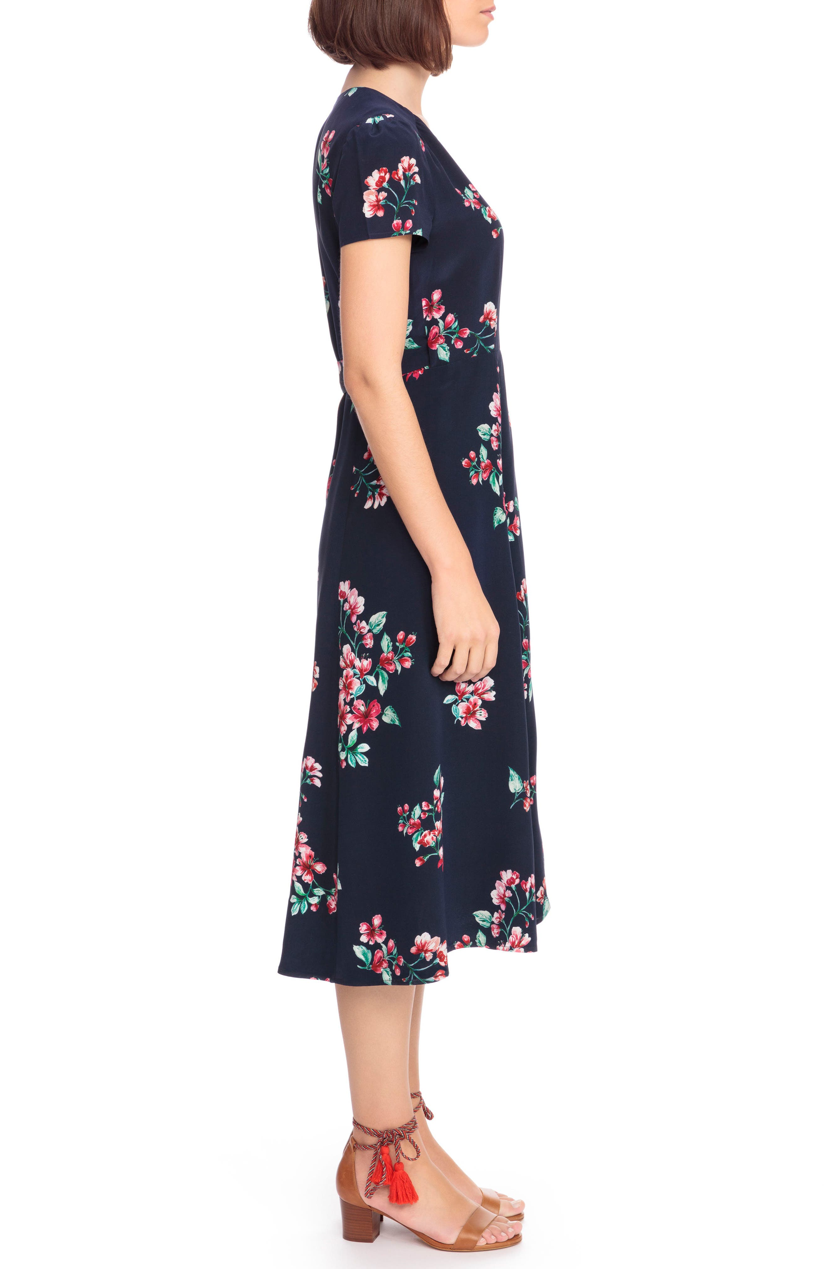 Amber Floral Silk Wrap Dress,                             Alternate thumbnail 3, color,                             400