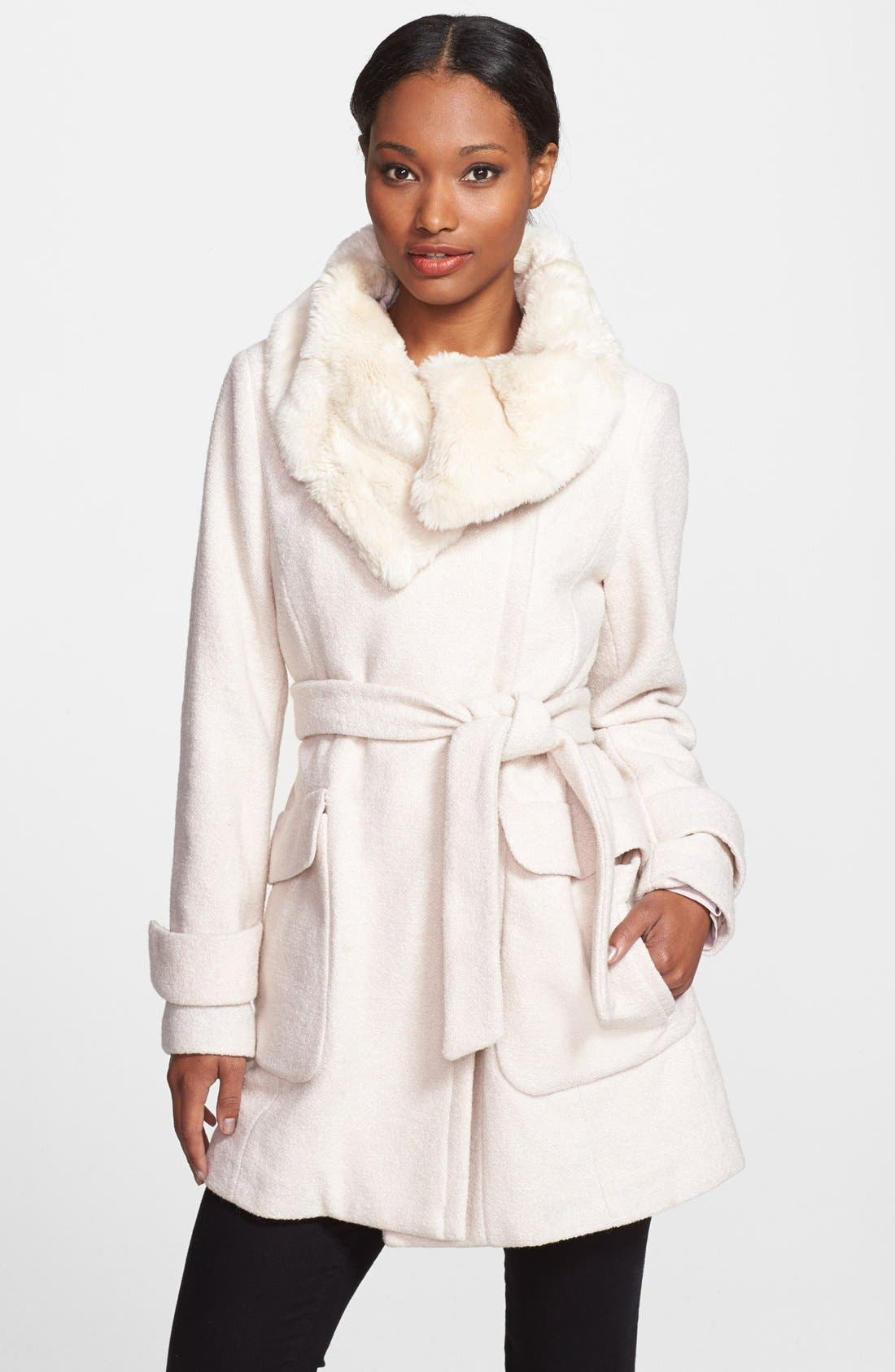 Faux Fur Collar Belted Asymmetrical Coat, Main, color, 100