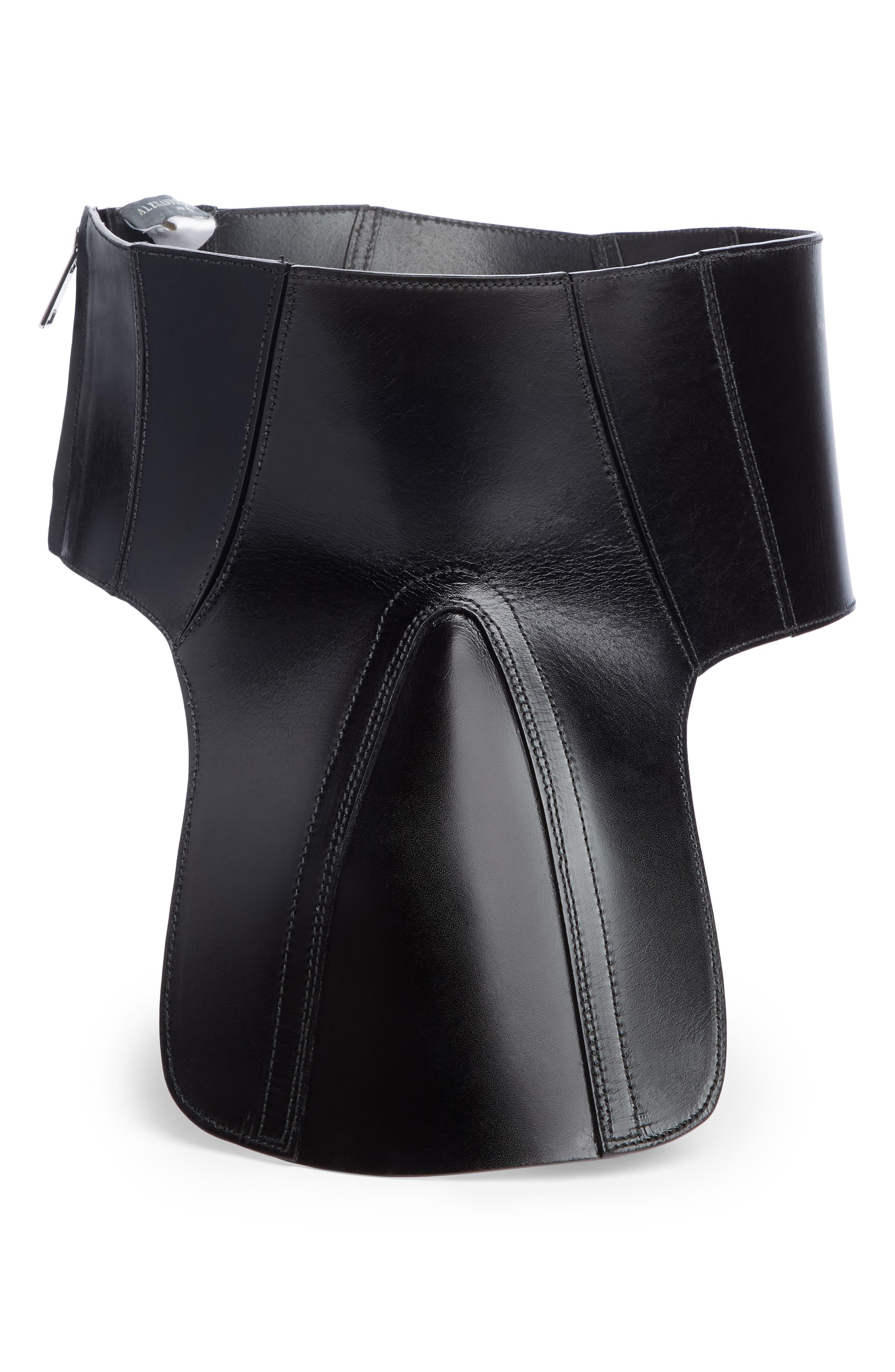 Leather Corset Belt,                             Alternate thumbnail 3, color,                             1000 - BLACK
