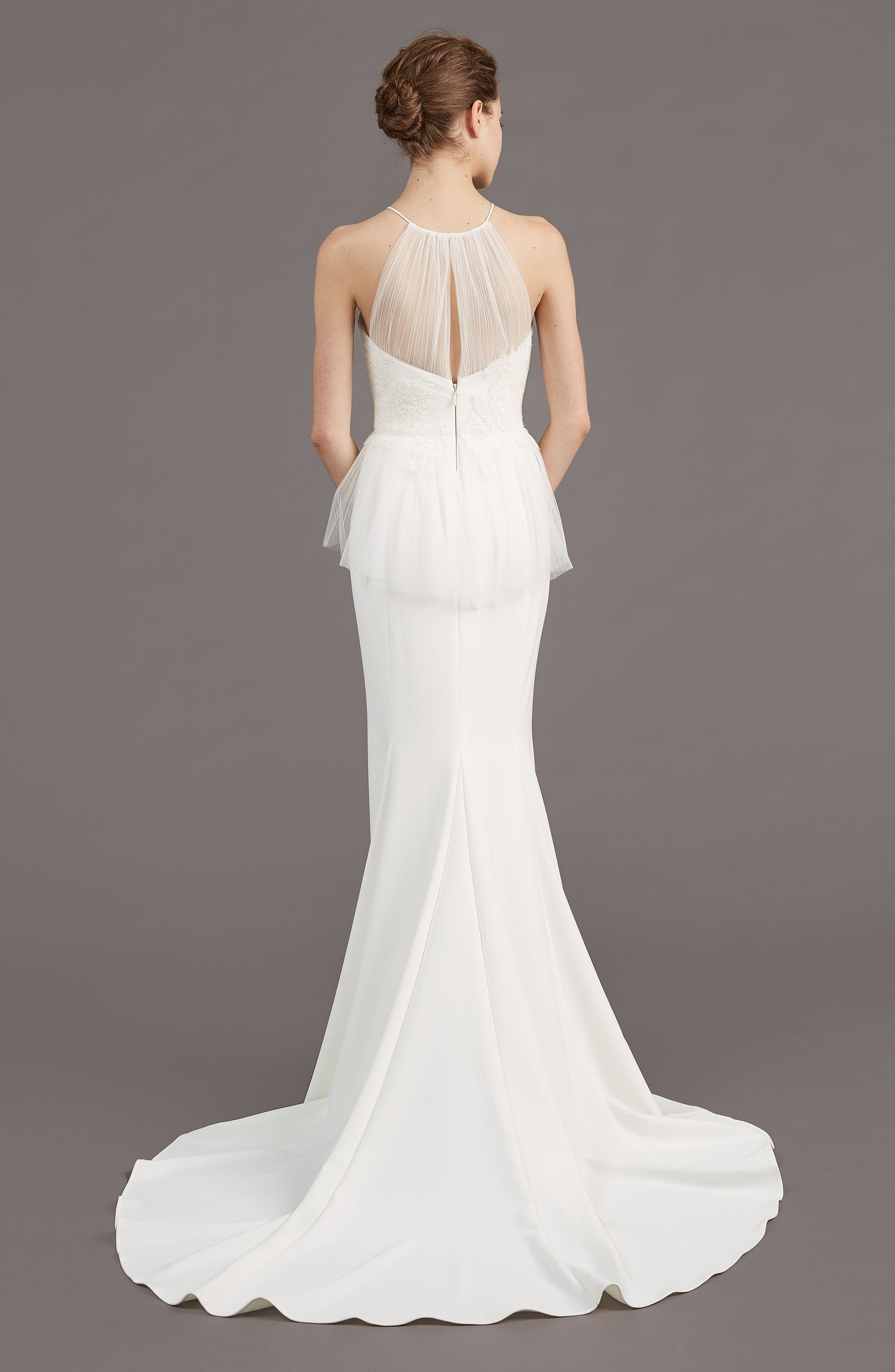 Ruby Crepe Peplum Gown,                             Alternate thumbnail 2, color,                             IVORY