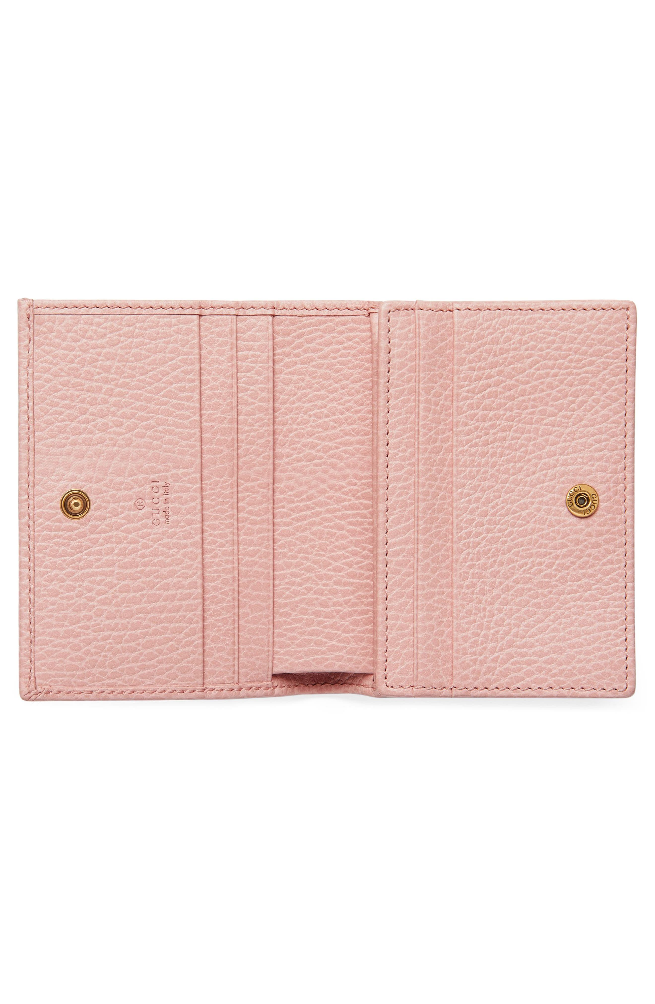 Farfalla Leather Card Case,                             Alternate thumbnail 4, color,                             PERFECT PINK/ CRYSTAL