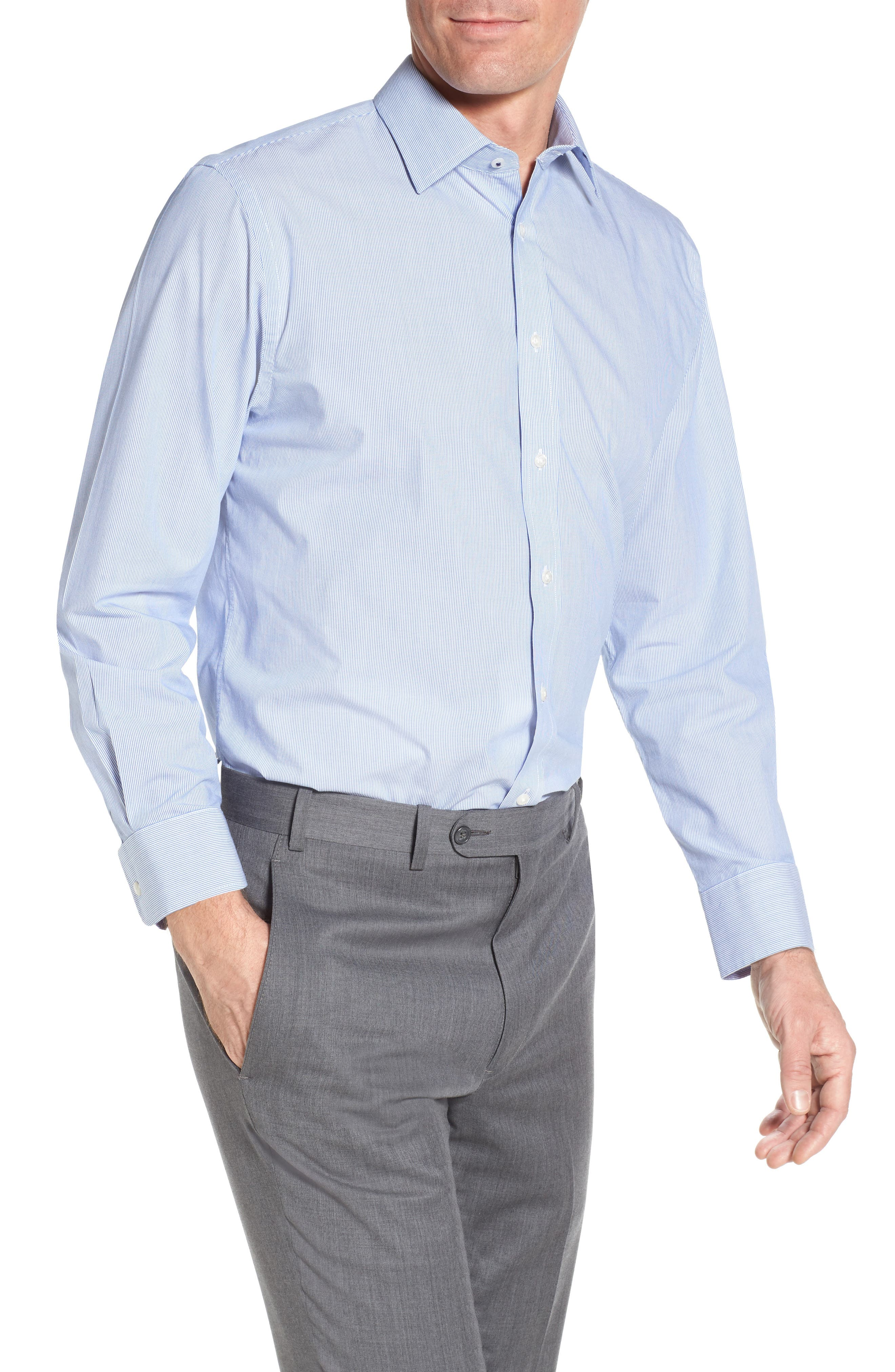 Tech-Smart Traditional Fit Stretch Stripe Dress Shirt,                         Main,                         color, 420