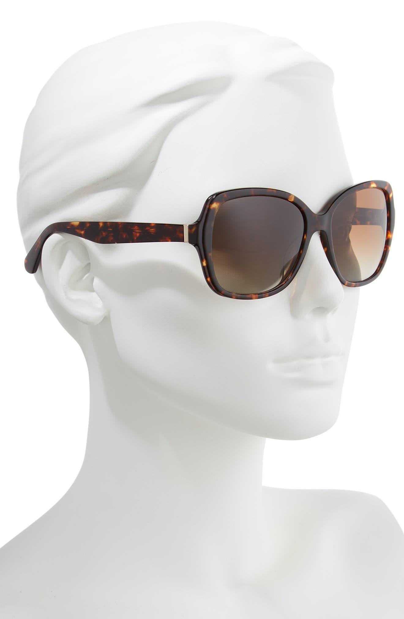 karalyns 56mm oversized sunglasses,                             Alternate thumbnail 2, color,                             DARK HAVANA