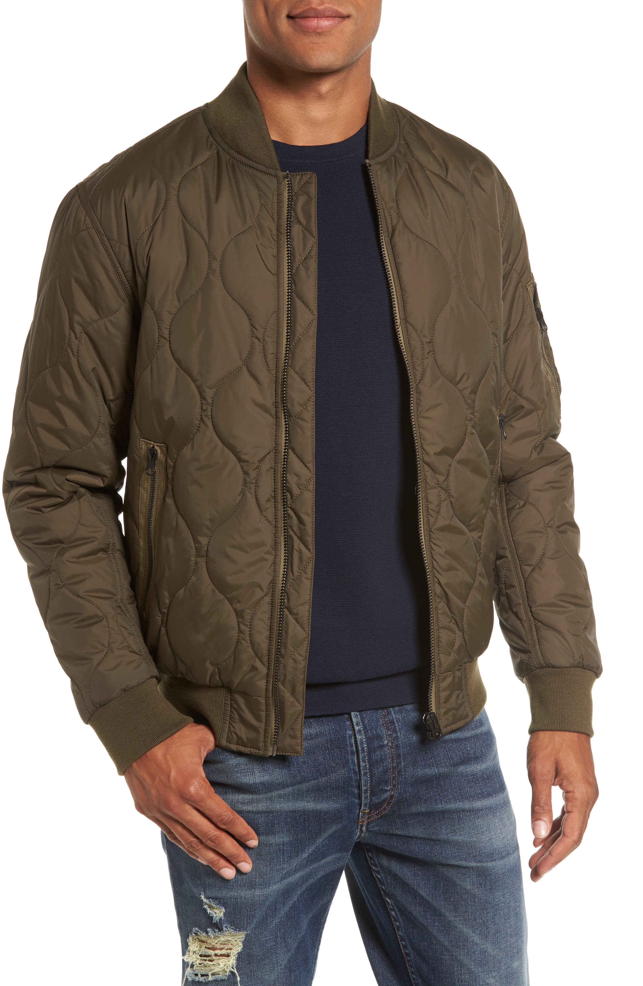 Regular Fit Quilted Bomber Jacket,                         Main,                         color,