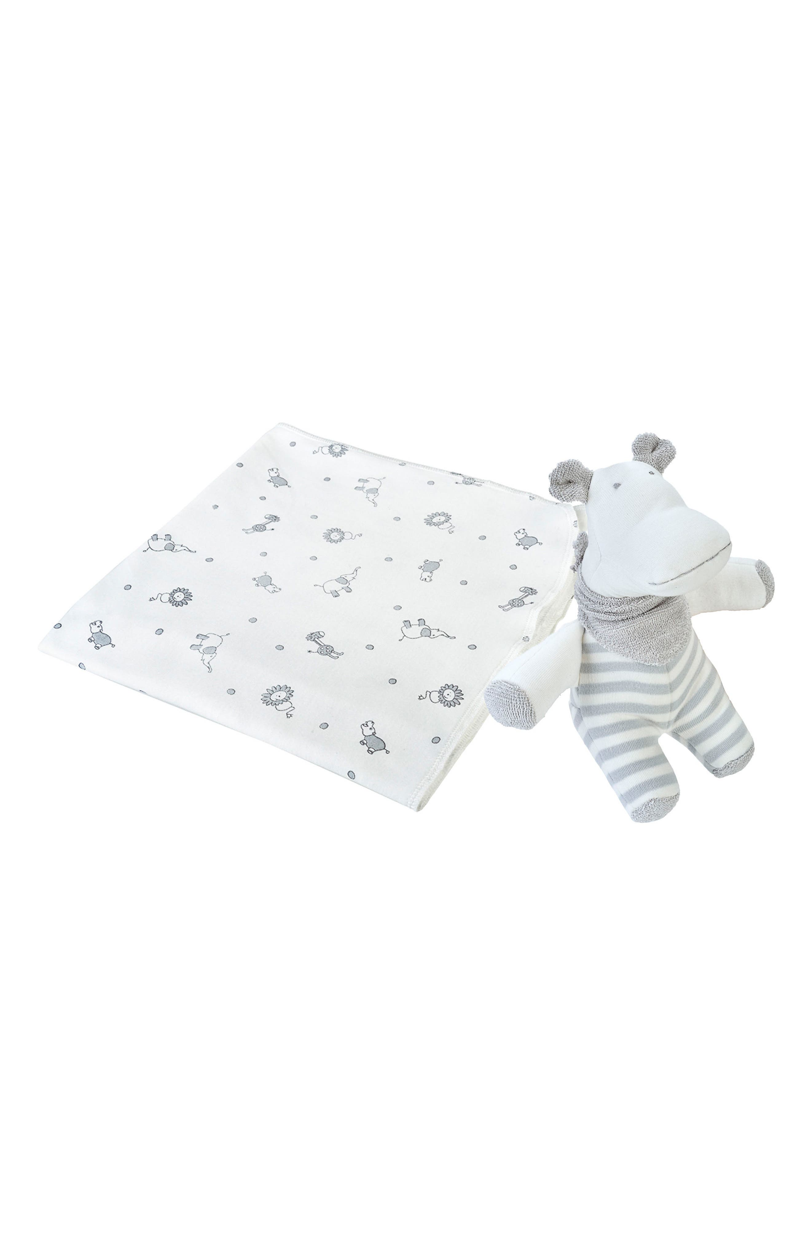 2-Piece Jungle Print Swaddle Blanket & Stuffed Animal Set,                         Main,                         color, 020
