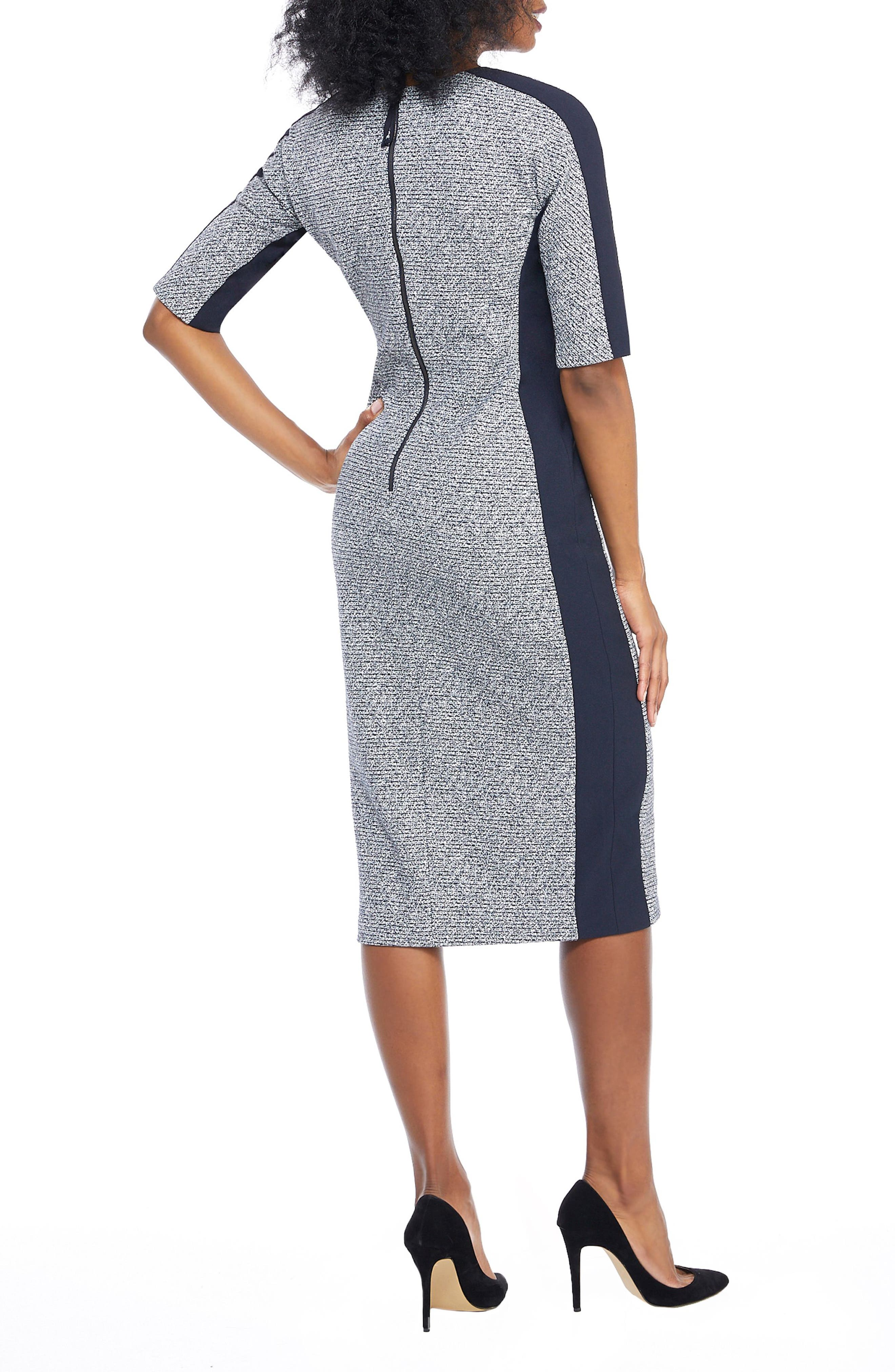 Metallic Ribbed Tweed V-Neck Sheath Dress,                             Alternate thumbnail 2, color,                             NAVY