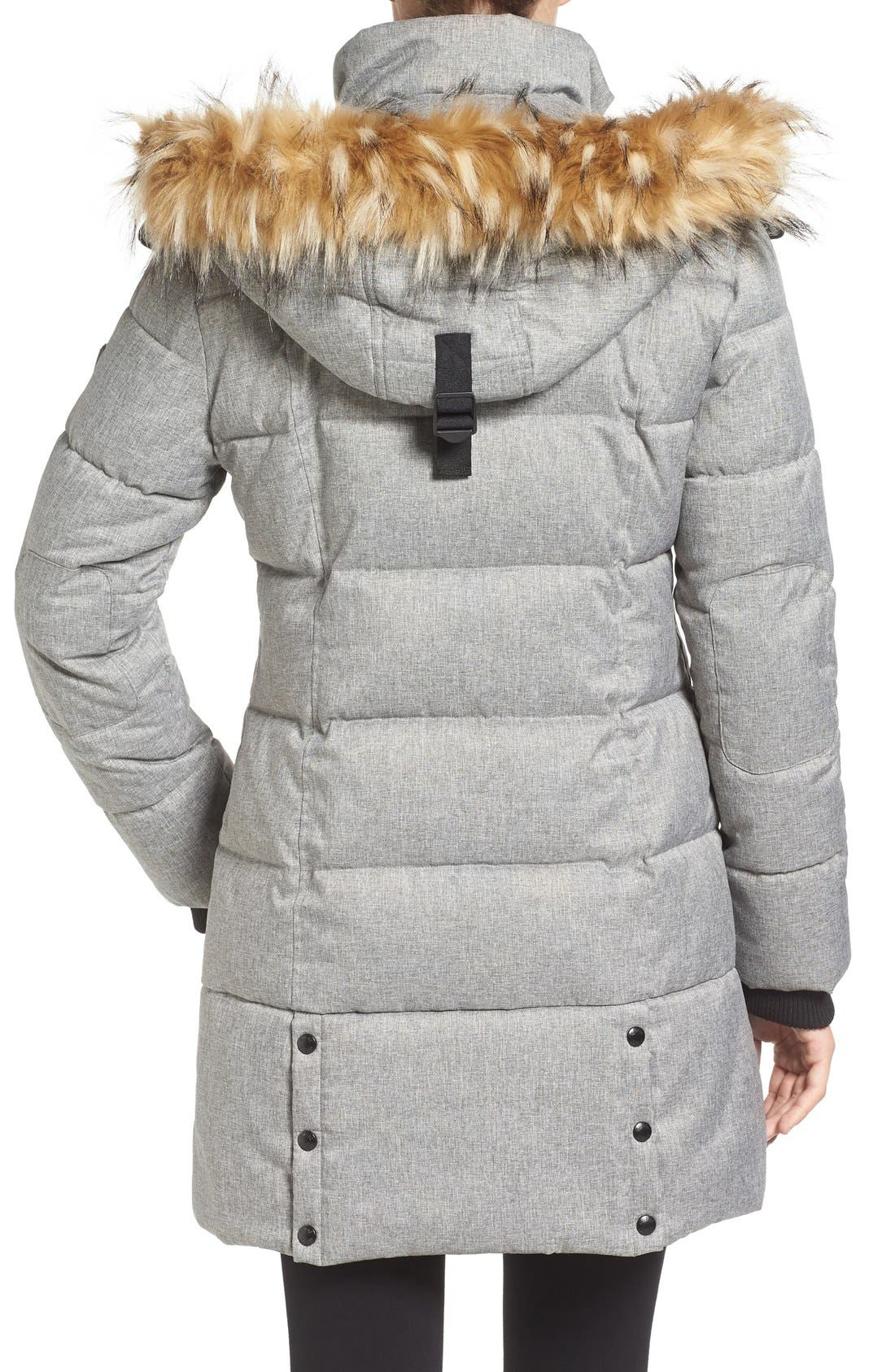'Expedition' Quilted Parka with Faux Fur Trim,                             Alternate thumbnail 8, color,