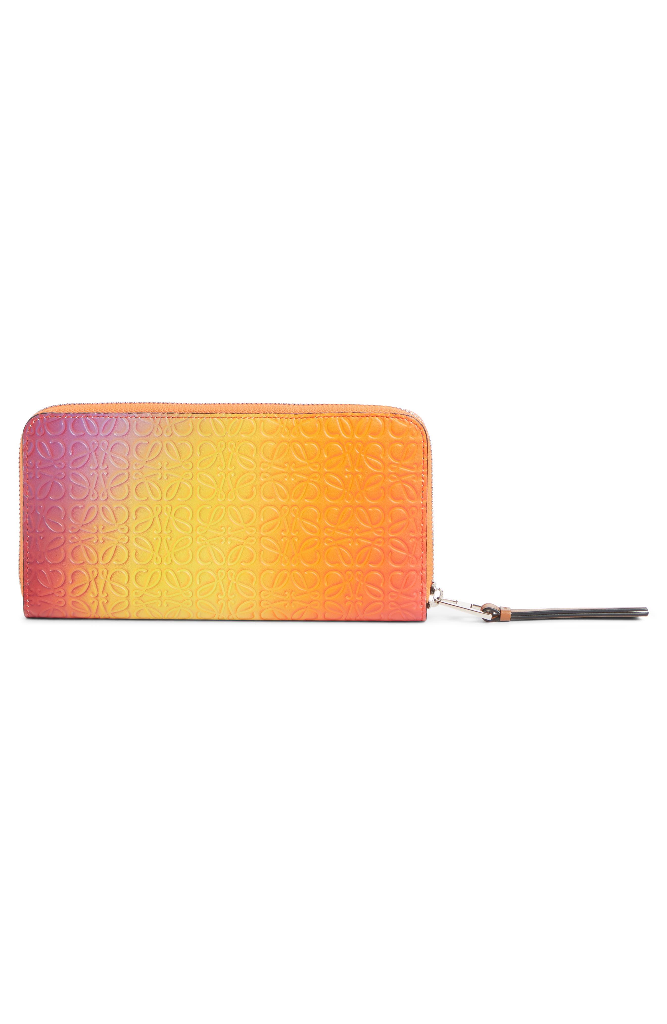LOEWE,                             Embossed Ombré Leather Zip Around Wallet,                             Alternate thumbnail 3, color,                             ORANGE SUNSET