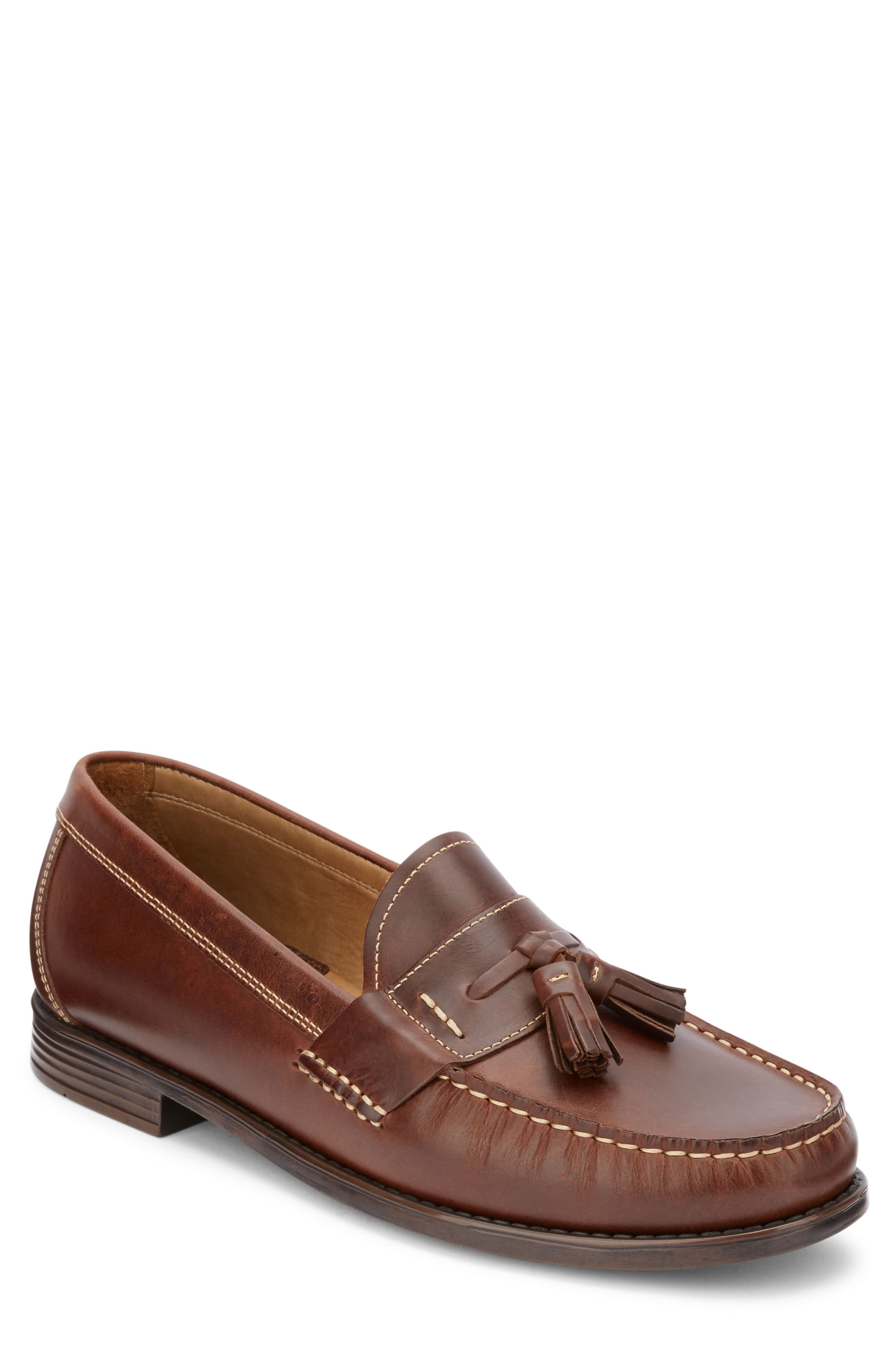 Wallace Tassel Loafer,                         Main,                         color, DARK BROWN LEATHER