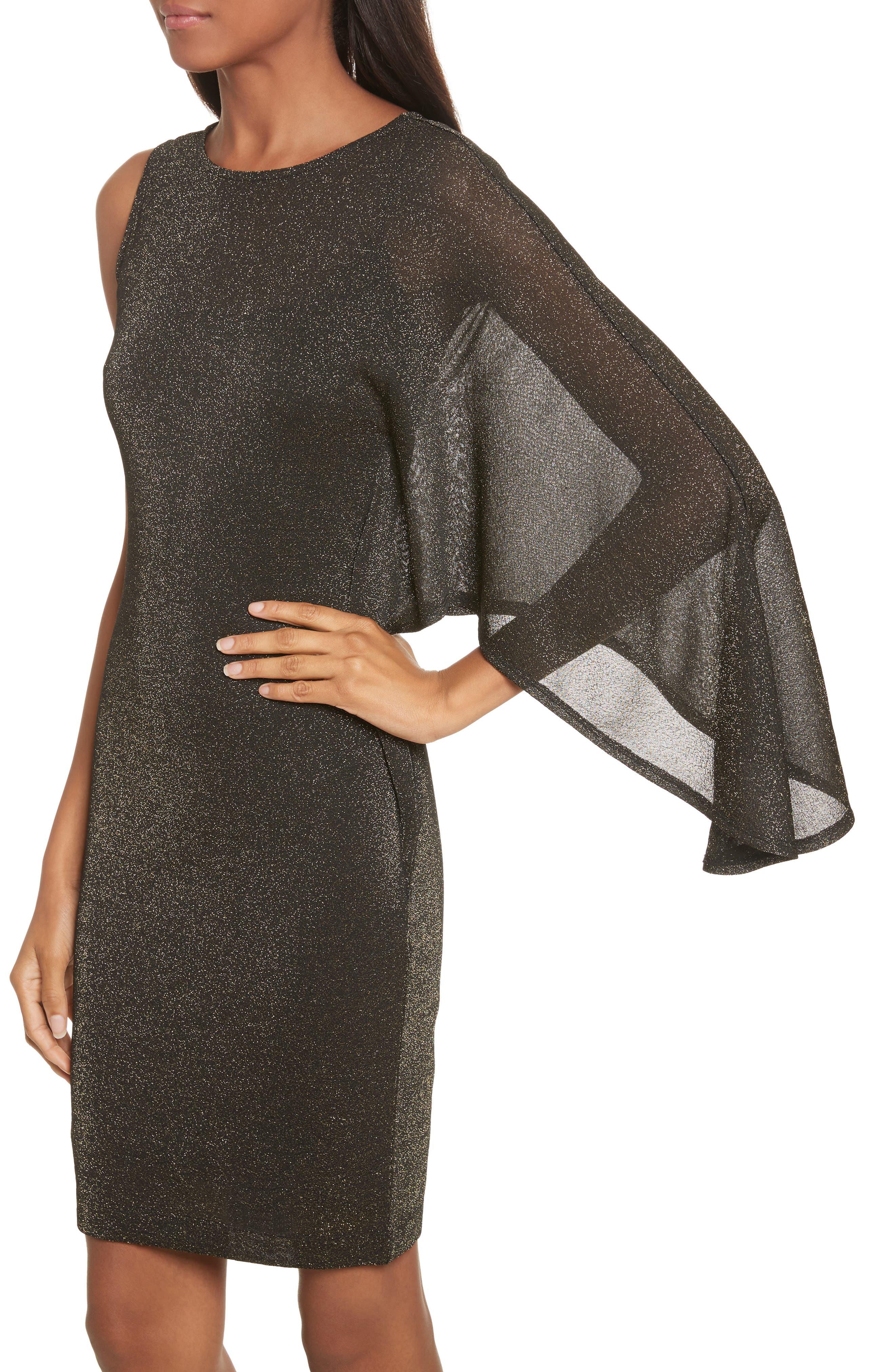 Draped One-Shoulder Dress,                             Alternate thumbnail 4, color,                             001